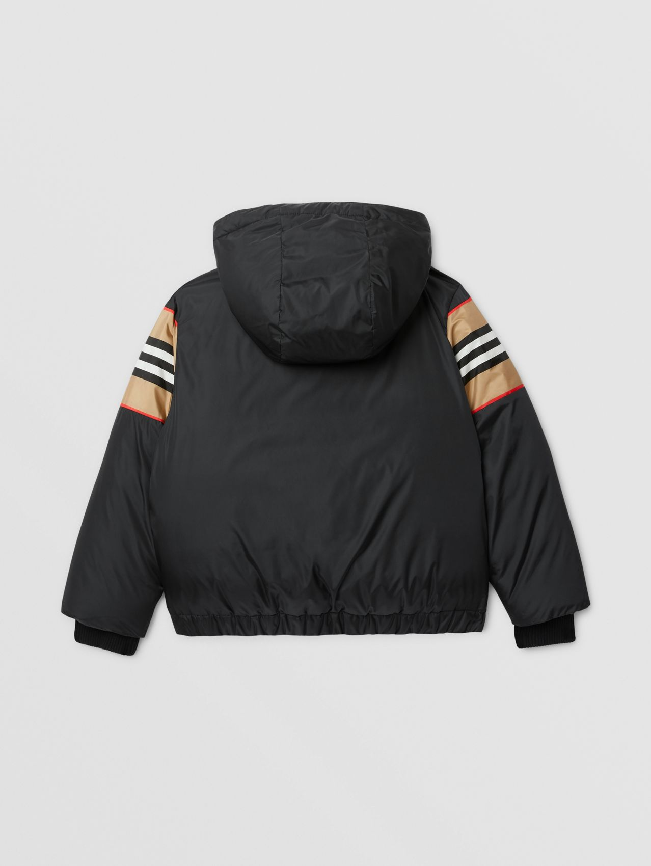 Logo Appliqué Icon Stripe Panel Down-filled Jacket in Black