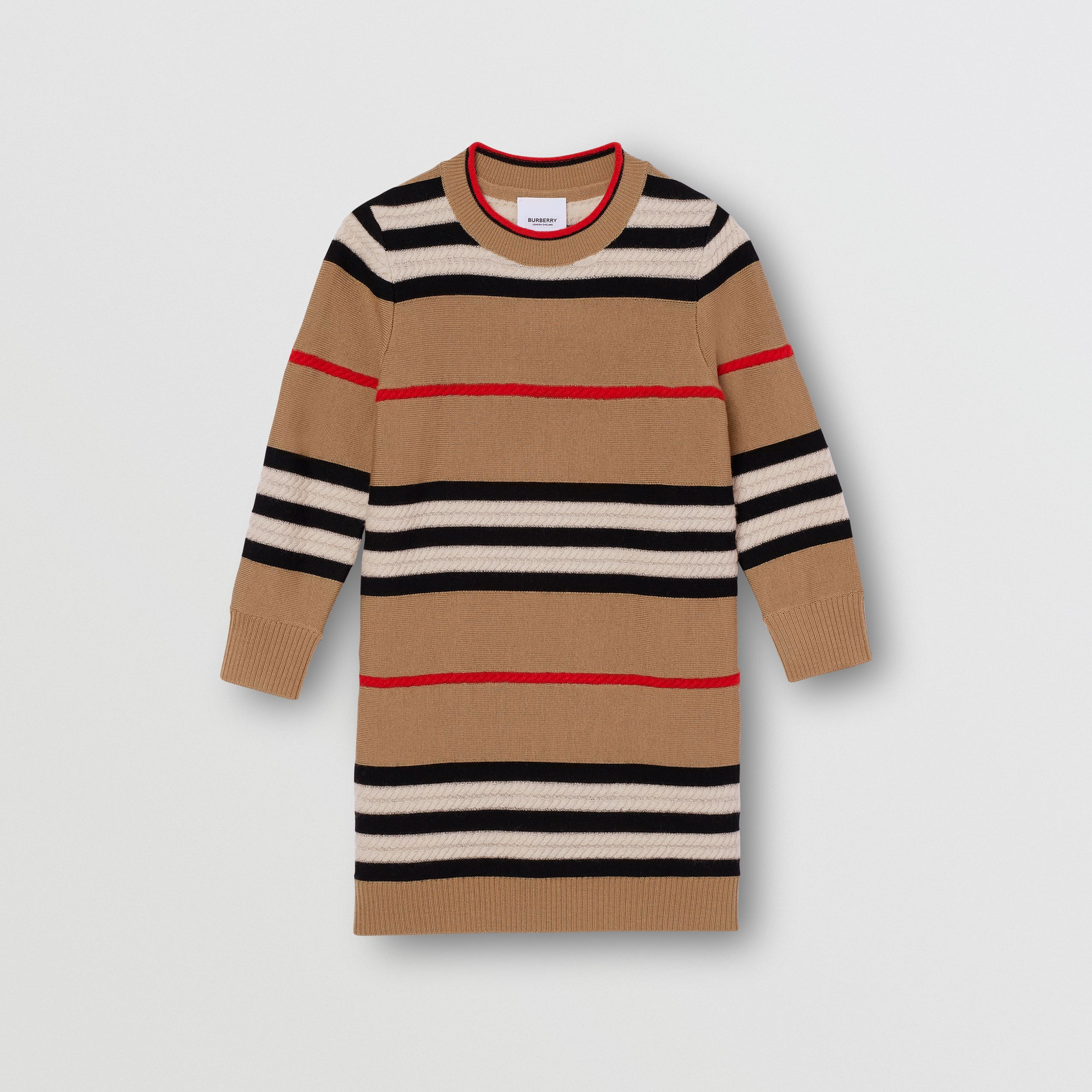 Icon Stripe Wool Cashmere Sweater Dress in Archive Beige | Burberry Australia - 1