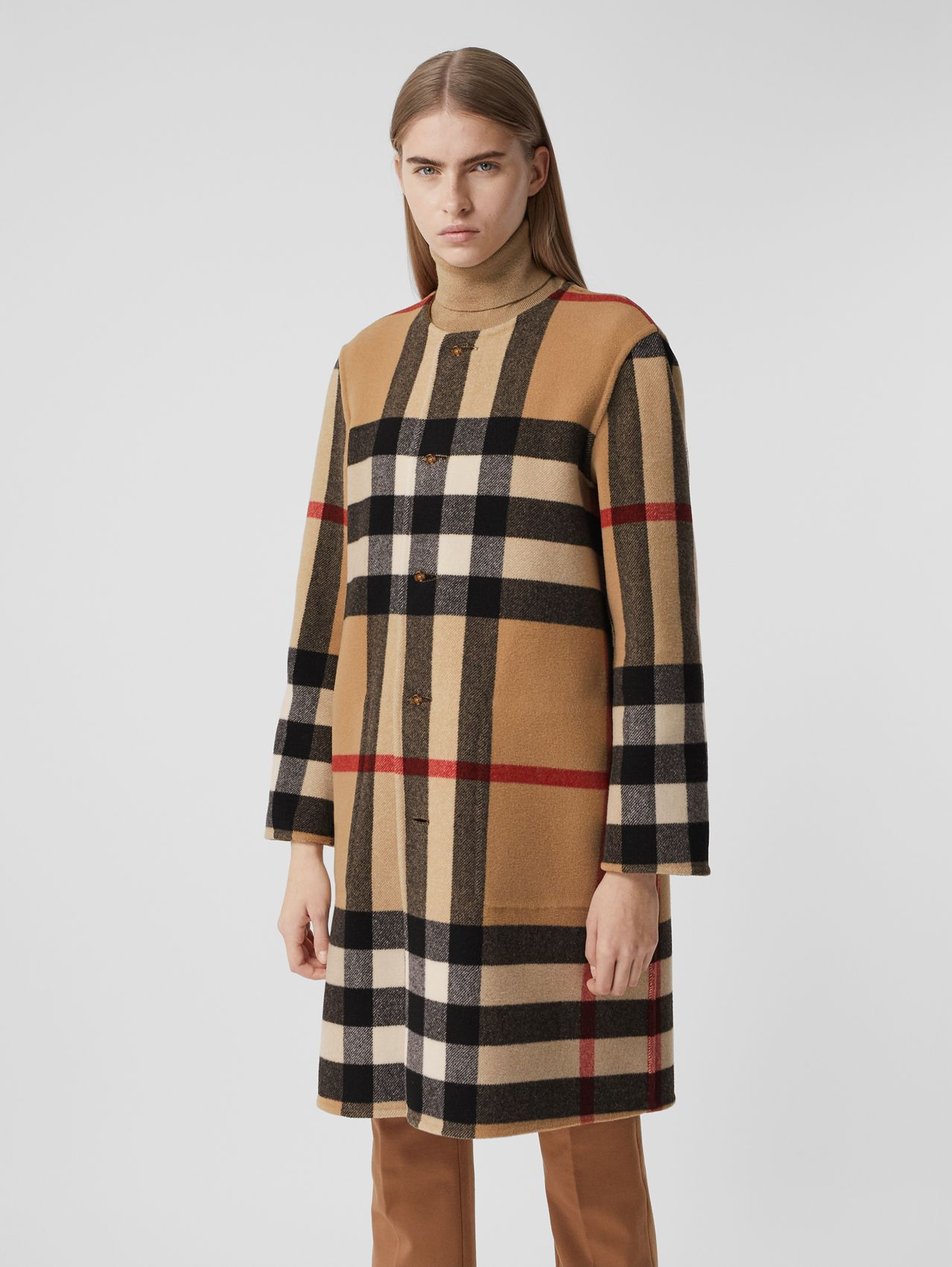 Reversible Check Technical Wool Coat in Mid Camel