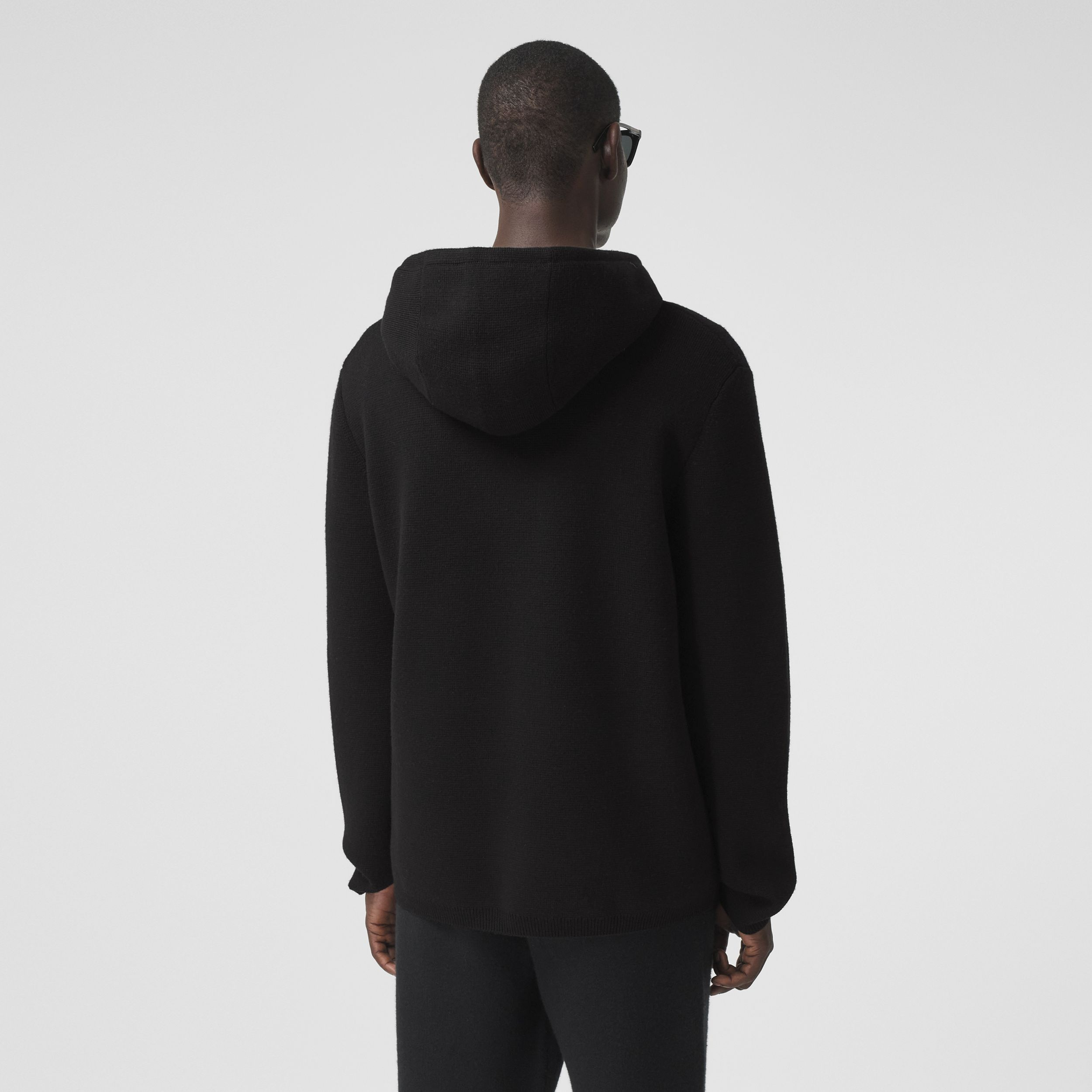 Contrast Pocket Wool Hooded Top in Black - Men | Burberry - 3