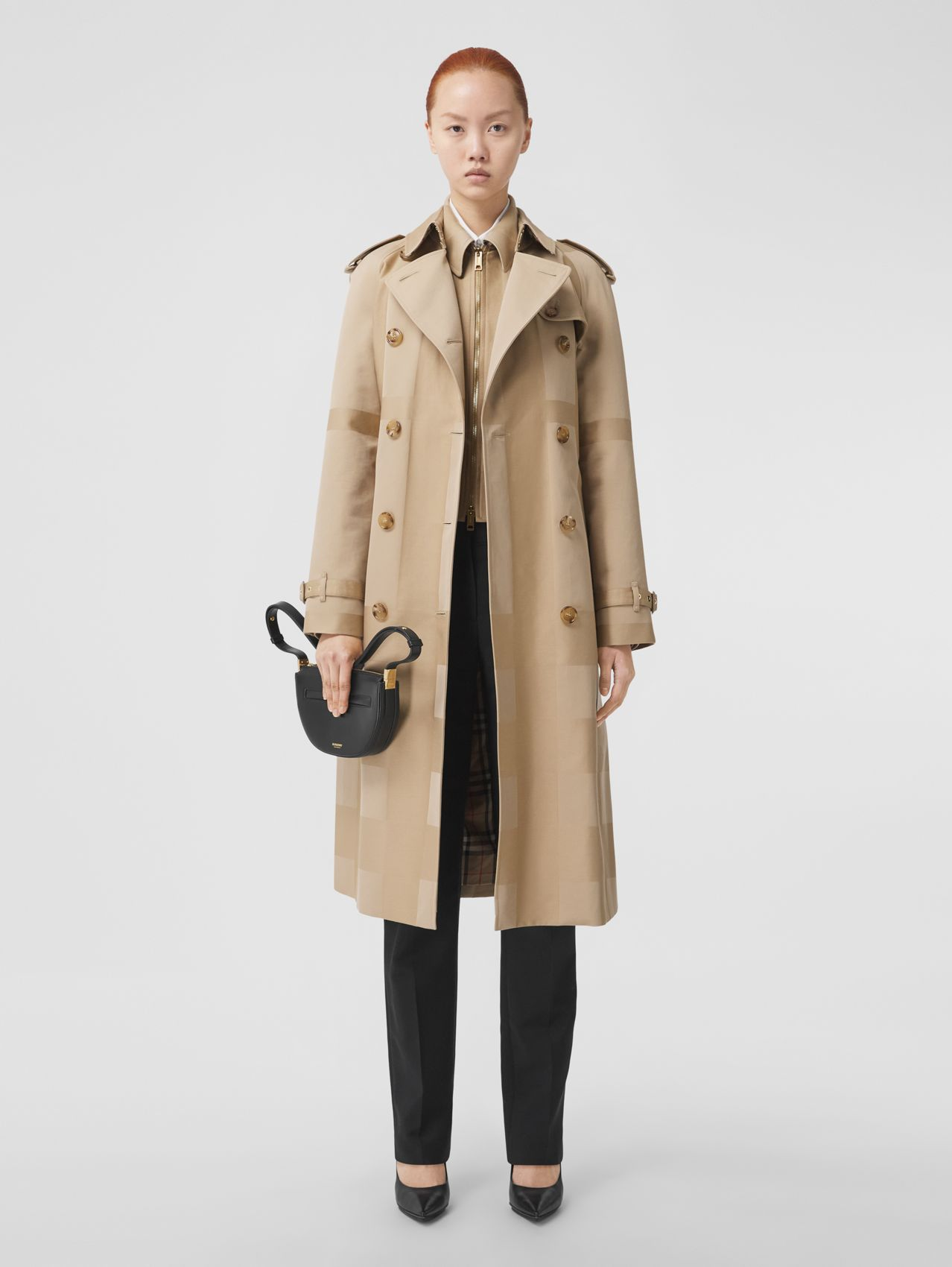 Check Cotton Gabardine Trench Coat in Honey
