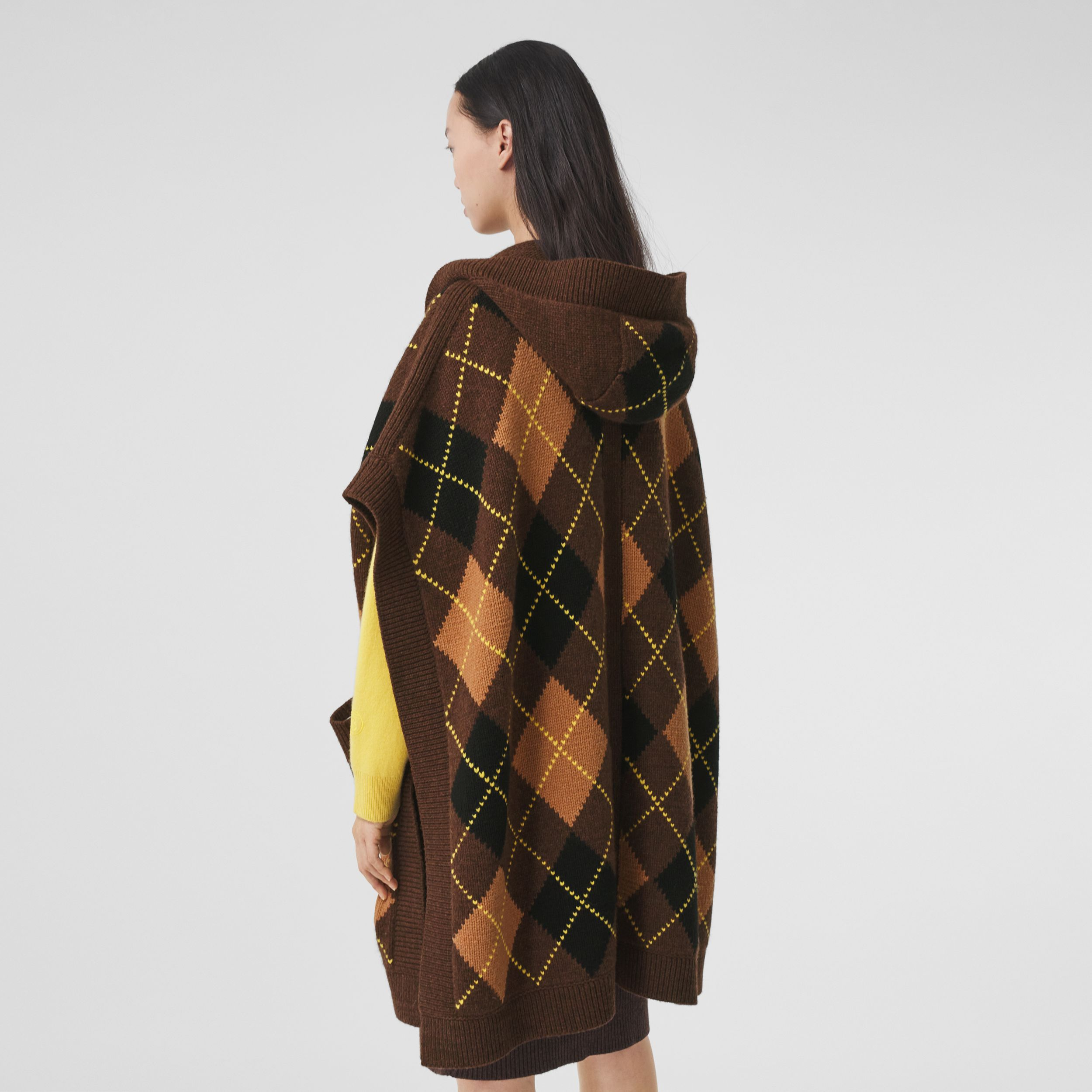 Argyle Intarsia Wool Cashmere Hooded Cape in Brown - Women | Burberry Hong Kong S.A.R. - 3