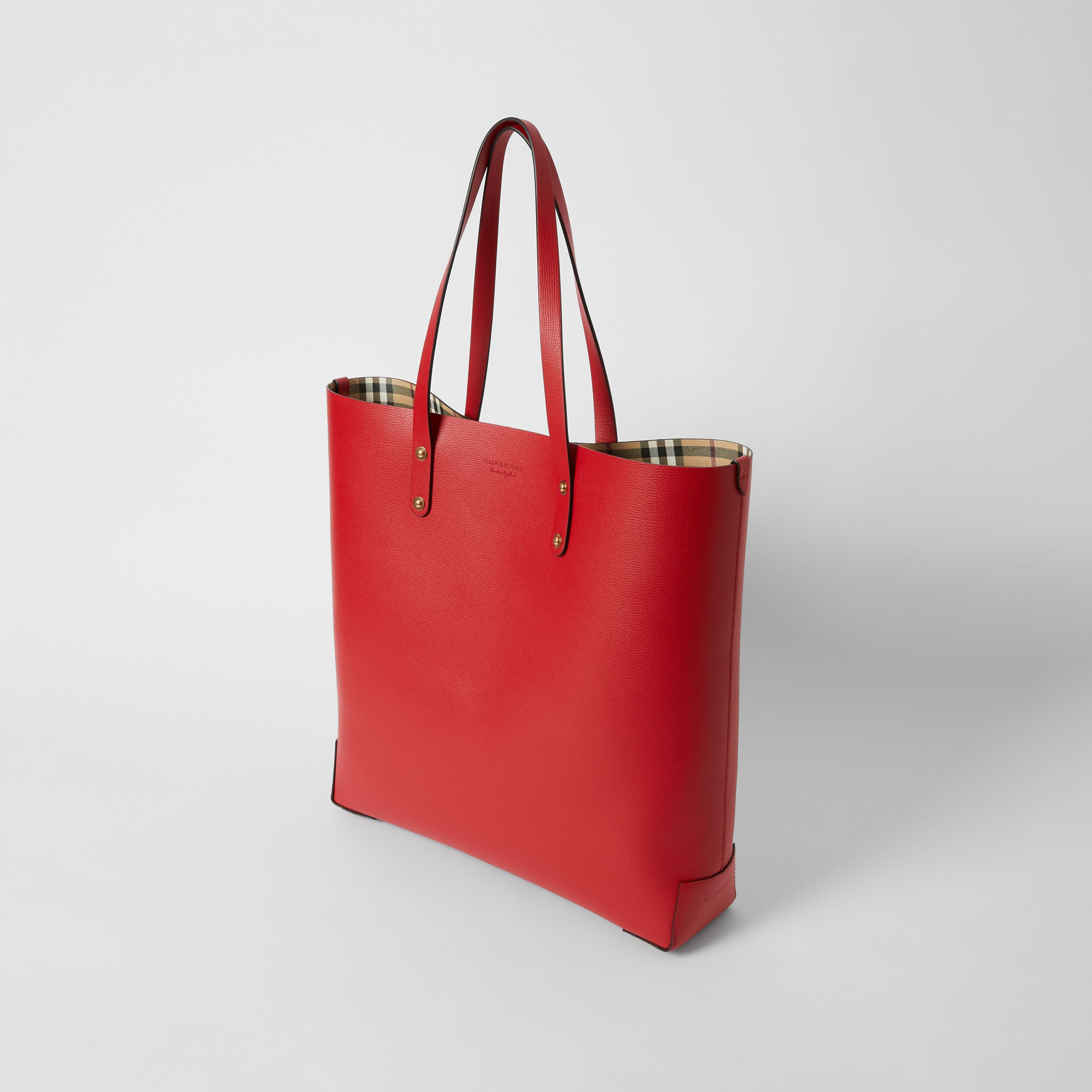 Large Grainy Leather Tote Bag in Rust Red - Women | Burberry - 3