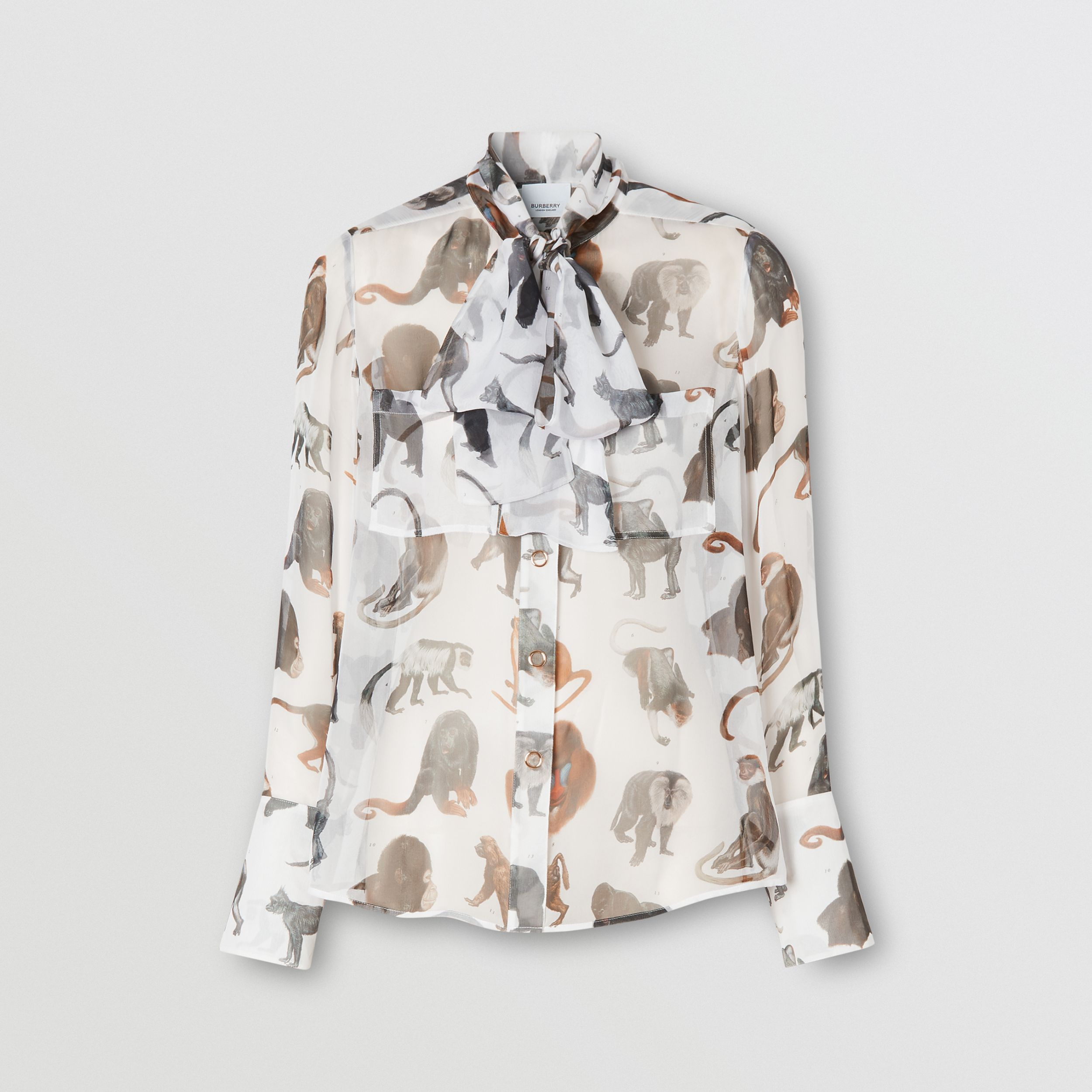 Monkey Print Silk Chiffon Pussy-bow Blouse in White | Burberry - 4
