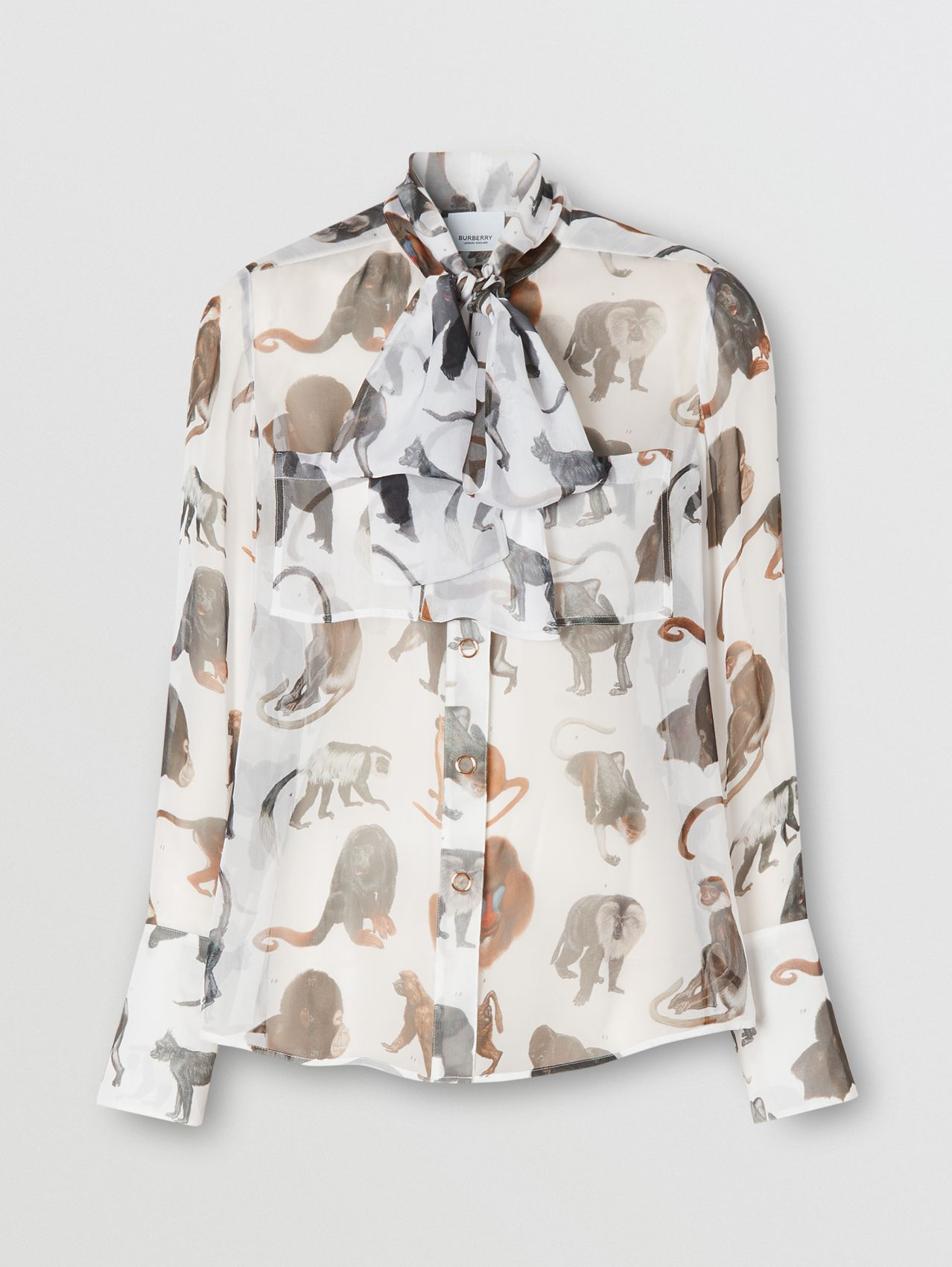 Monkey Print Silk Chiffon Pussy-bow Blouse in White