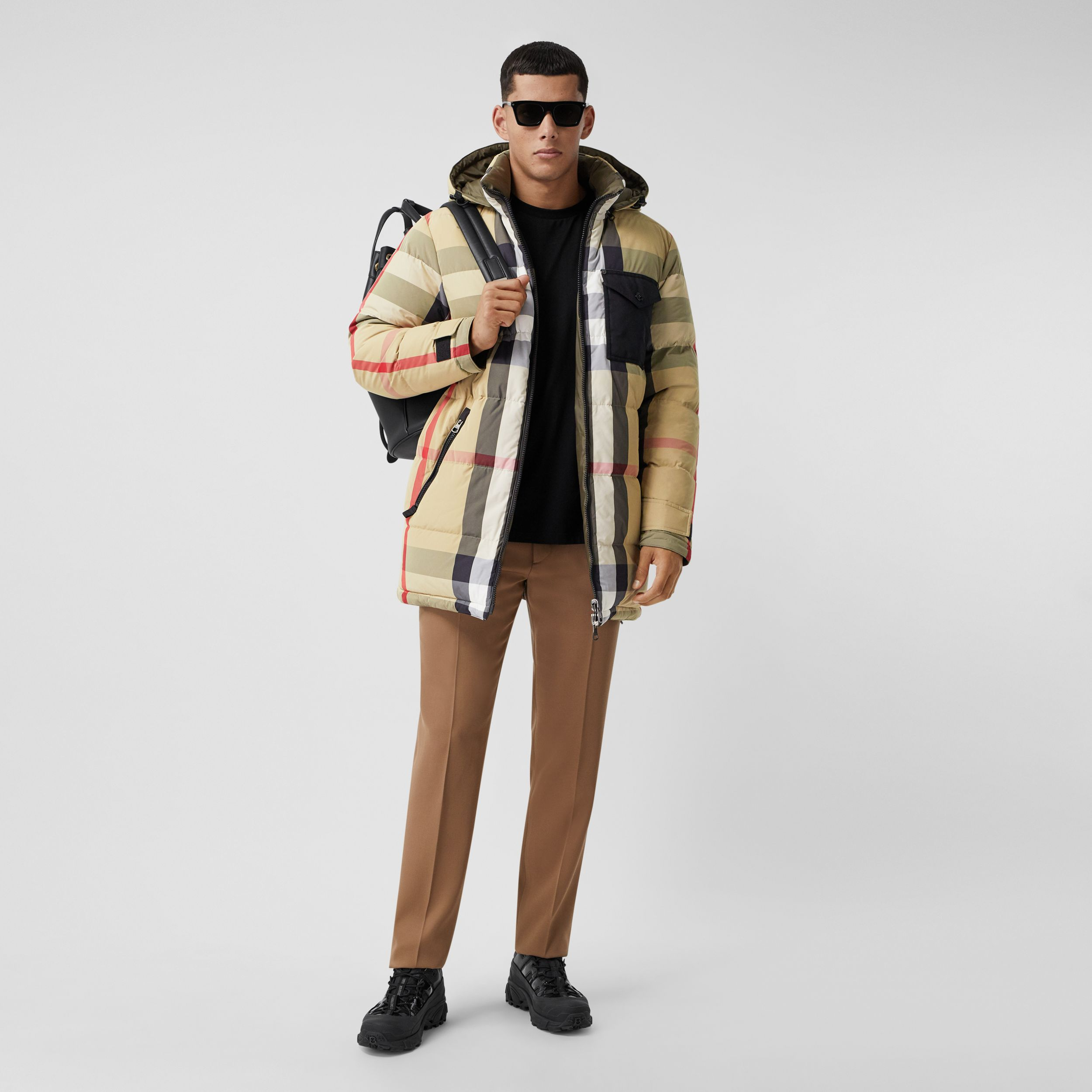 Reversible Check Recycled Nylon Puffer Jacket in Archive Beige/olive - Men | Burberry - 1