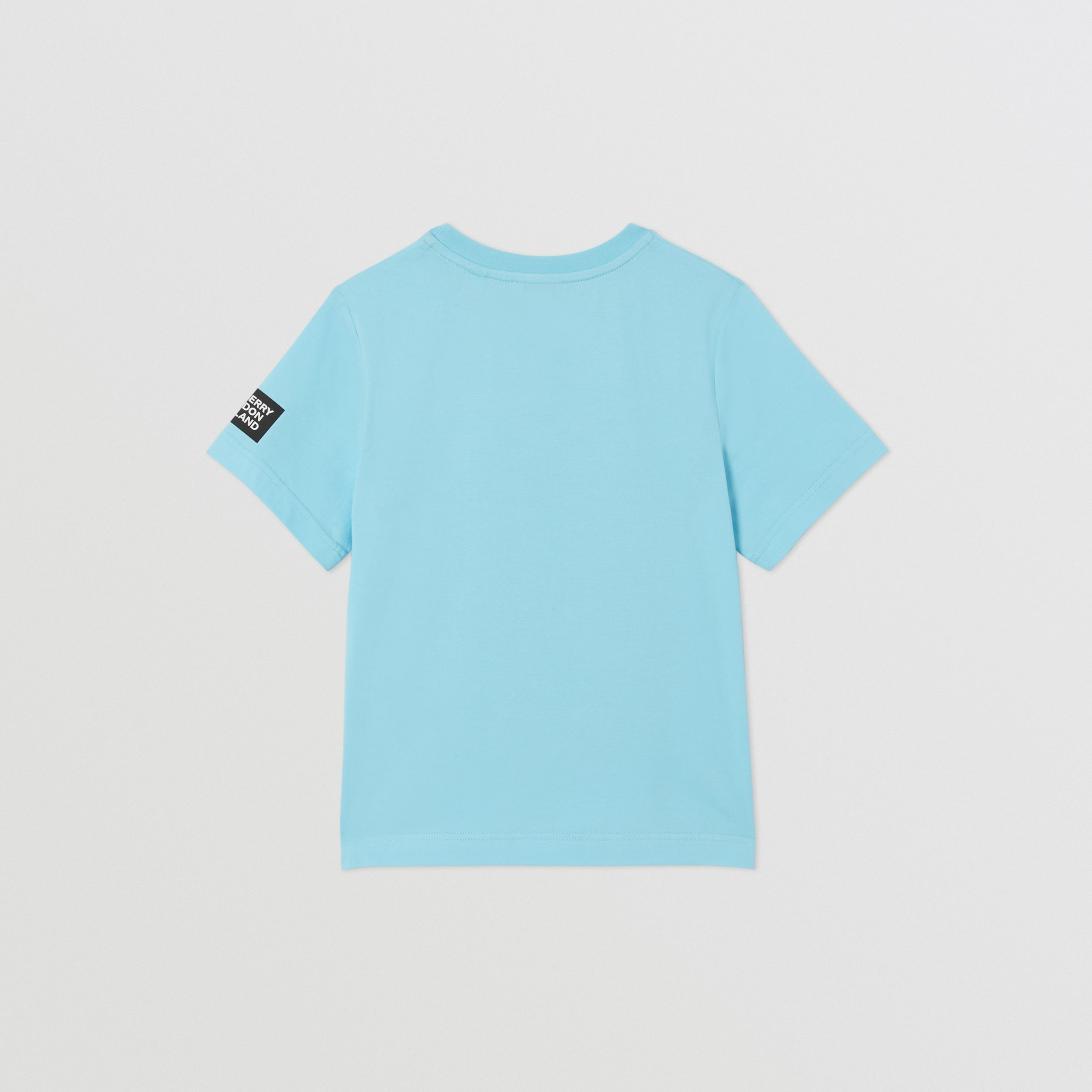 Montage Print Cotton T-shirt in Pale Turquoise | Burberry - 2