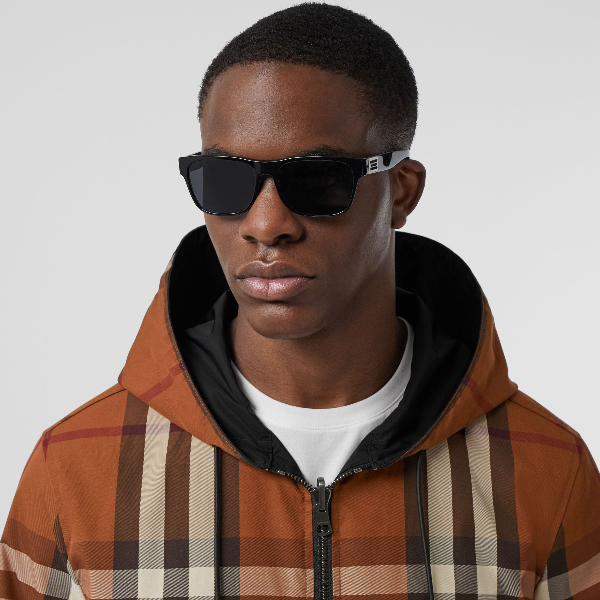 Reversible Check Technical Cotton Hooded Jacket in Dark Birch Brown - Men | Burberry - 2