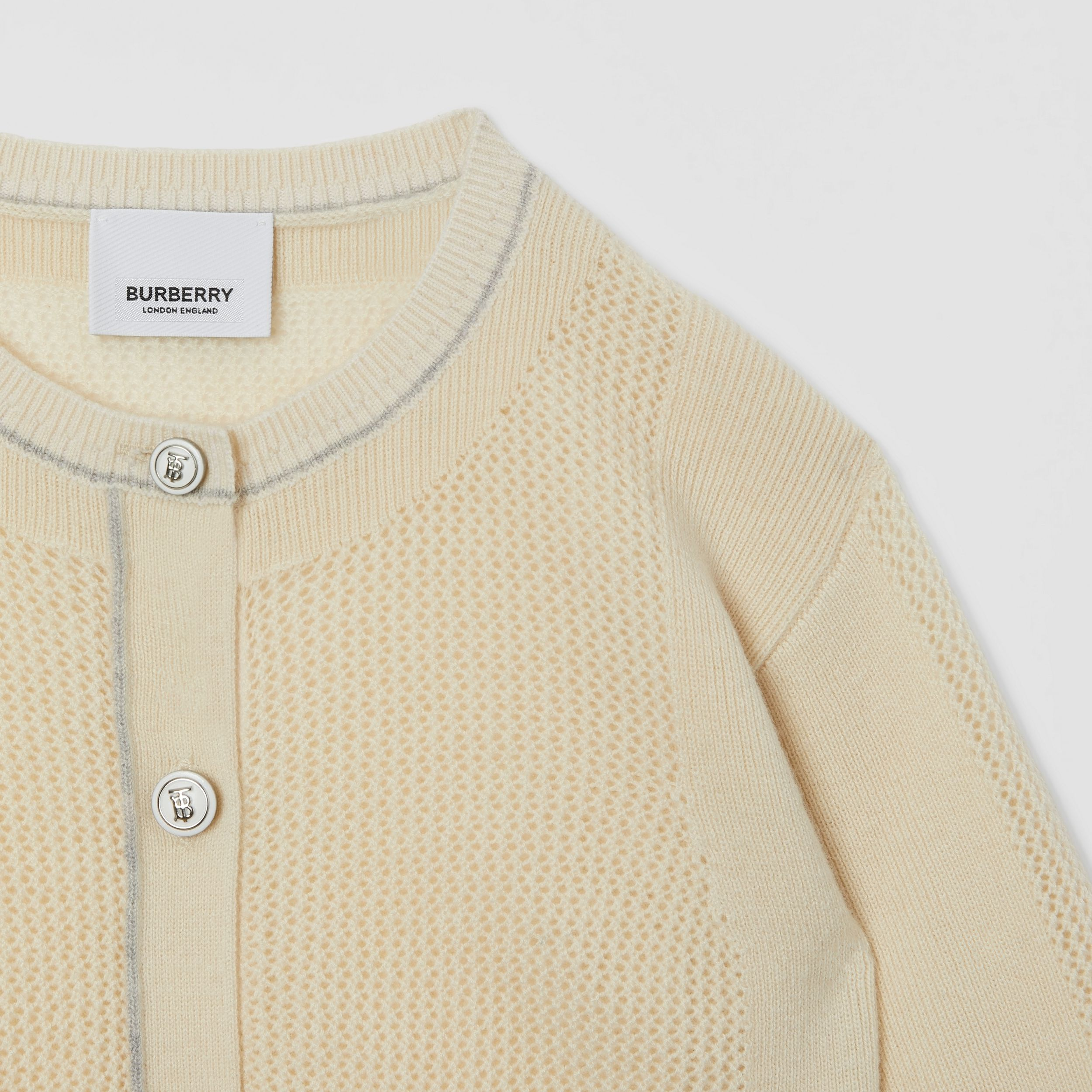 Monogram Motif Knitted Cashmere Cardigan in Ivory | Burberry - 4