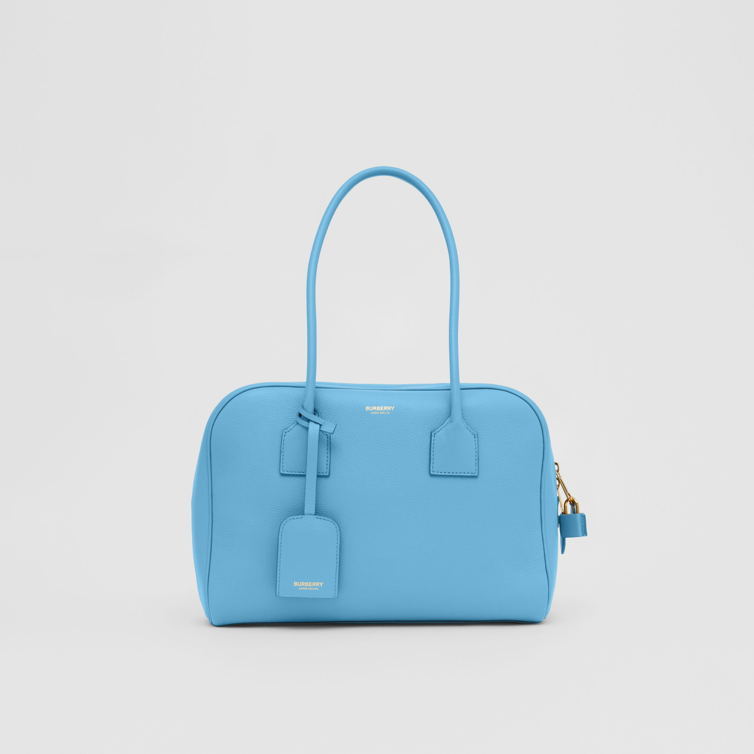 Medium Leather Half Cube Bag in Blue Topaz - Women | Burberry - 1