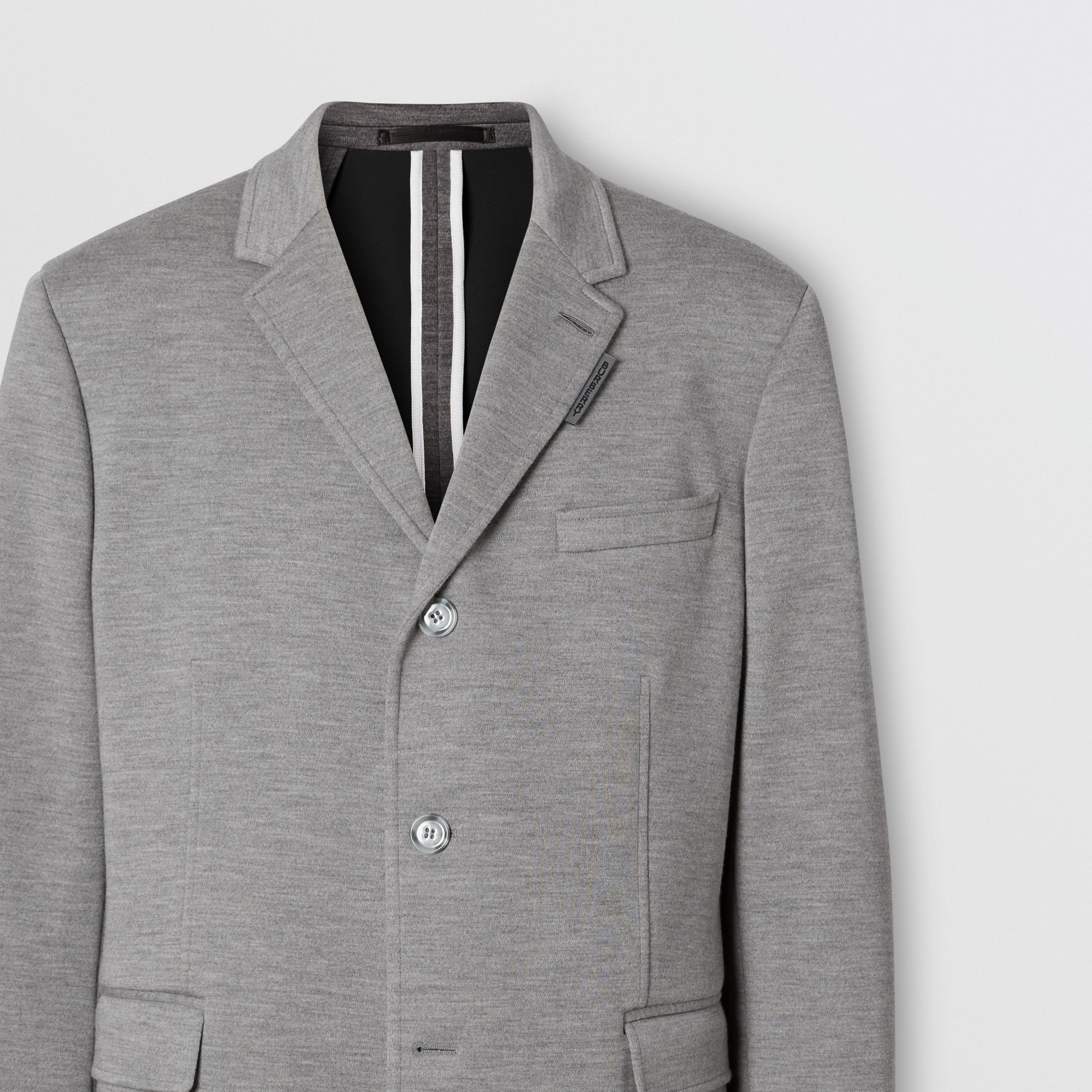 Relaxed Fit Wool Jersey Tailored Jacket in Cloud Grey - Men | Burberry - 3
