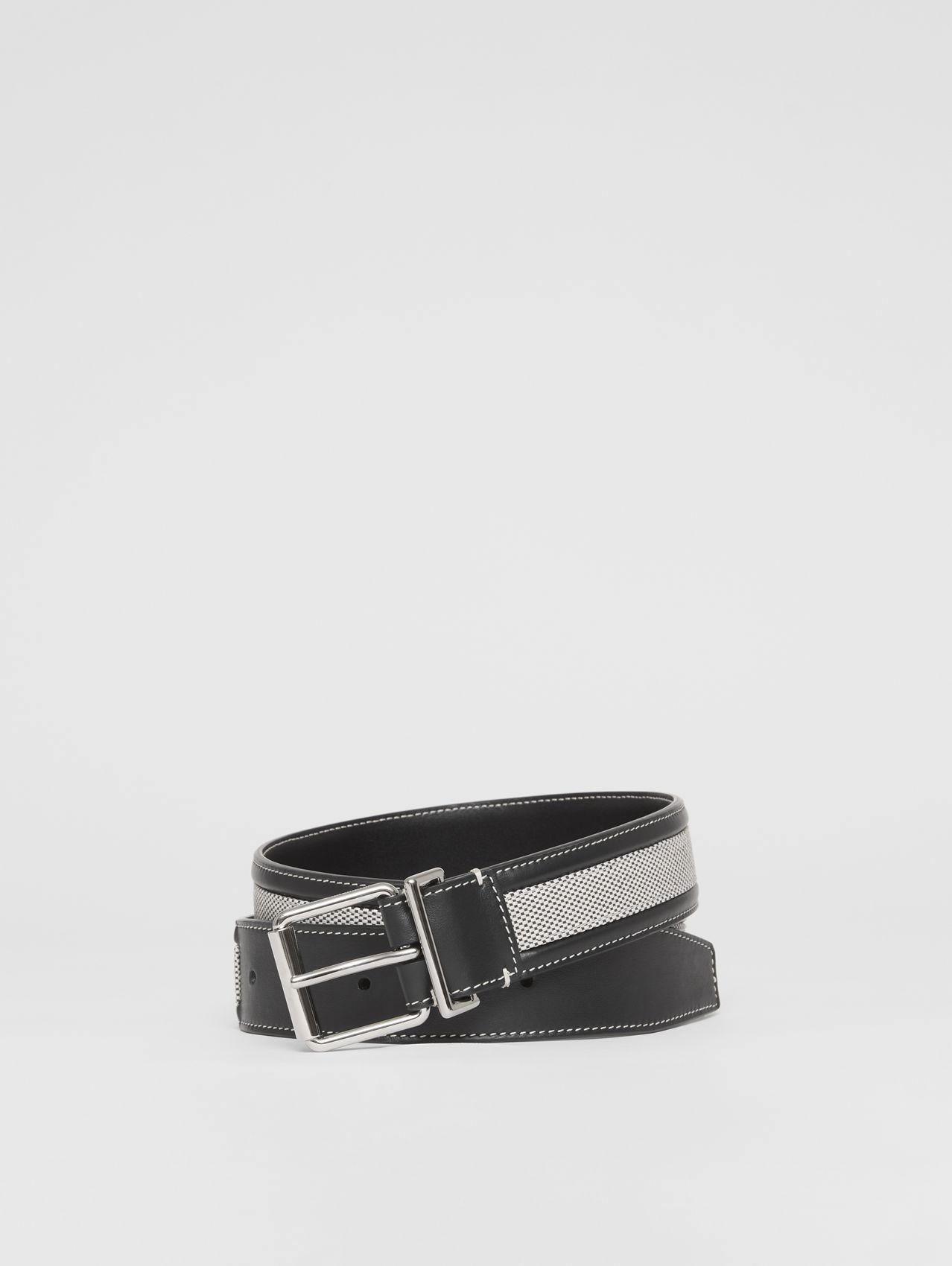 Cotton Canvas and Leather Belt in Black