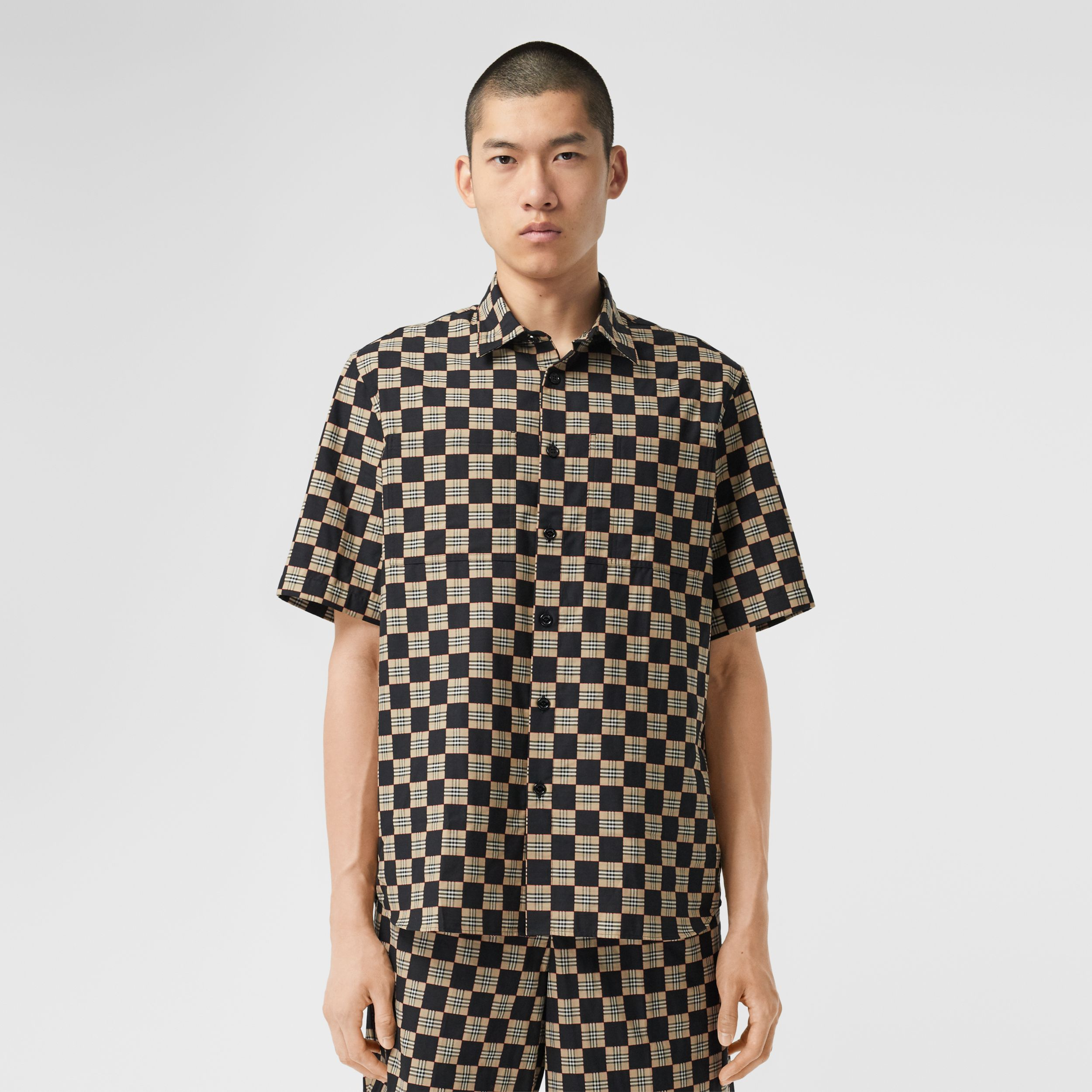 Short-sleeve Chequer Print Cotton Shirt - Men | Burberry - 1