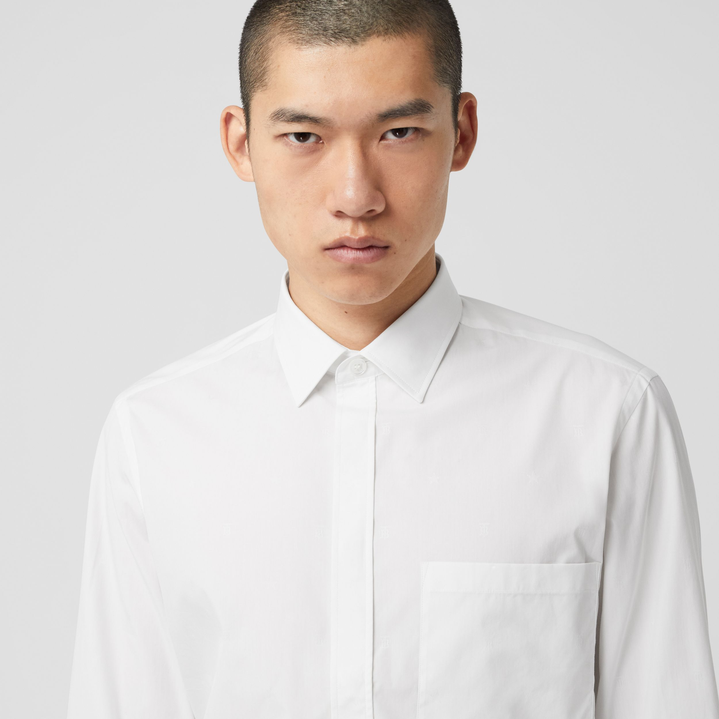 Slim Fit Star and Monogram Motif Cotton Shirt in White - Men | Burberry - 2