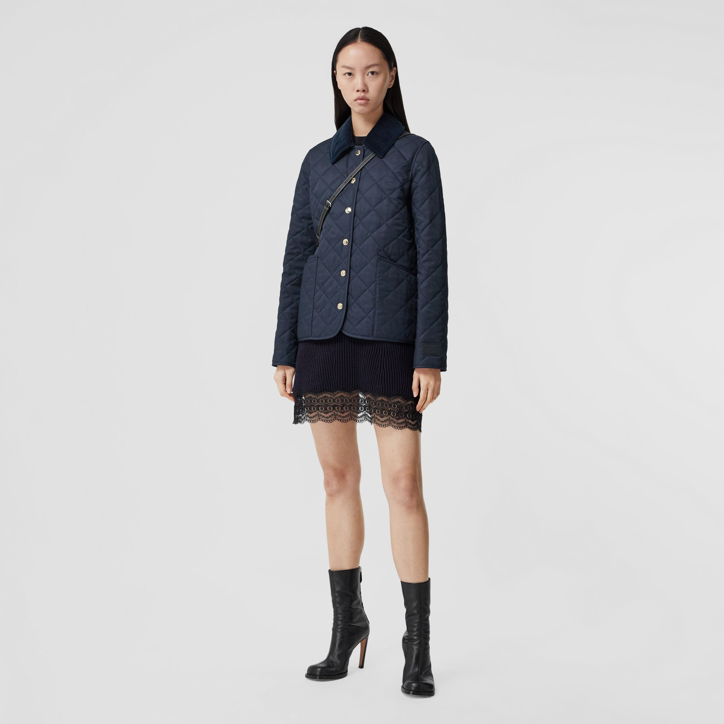 Corduroy Collar Diamond Quilted Jacket in Midnight - Women | Burberry Australia - 1