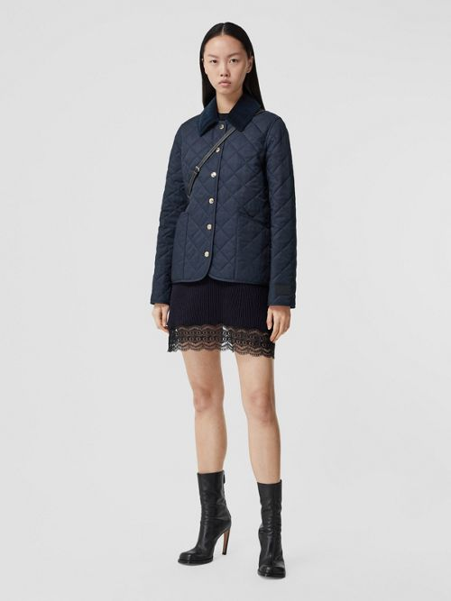 Burberry Jackets Corduroy Collar Diamond Quilted Jacket
