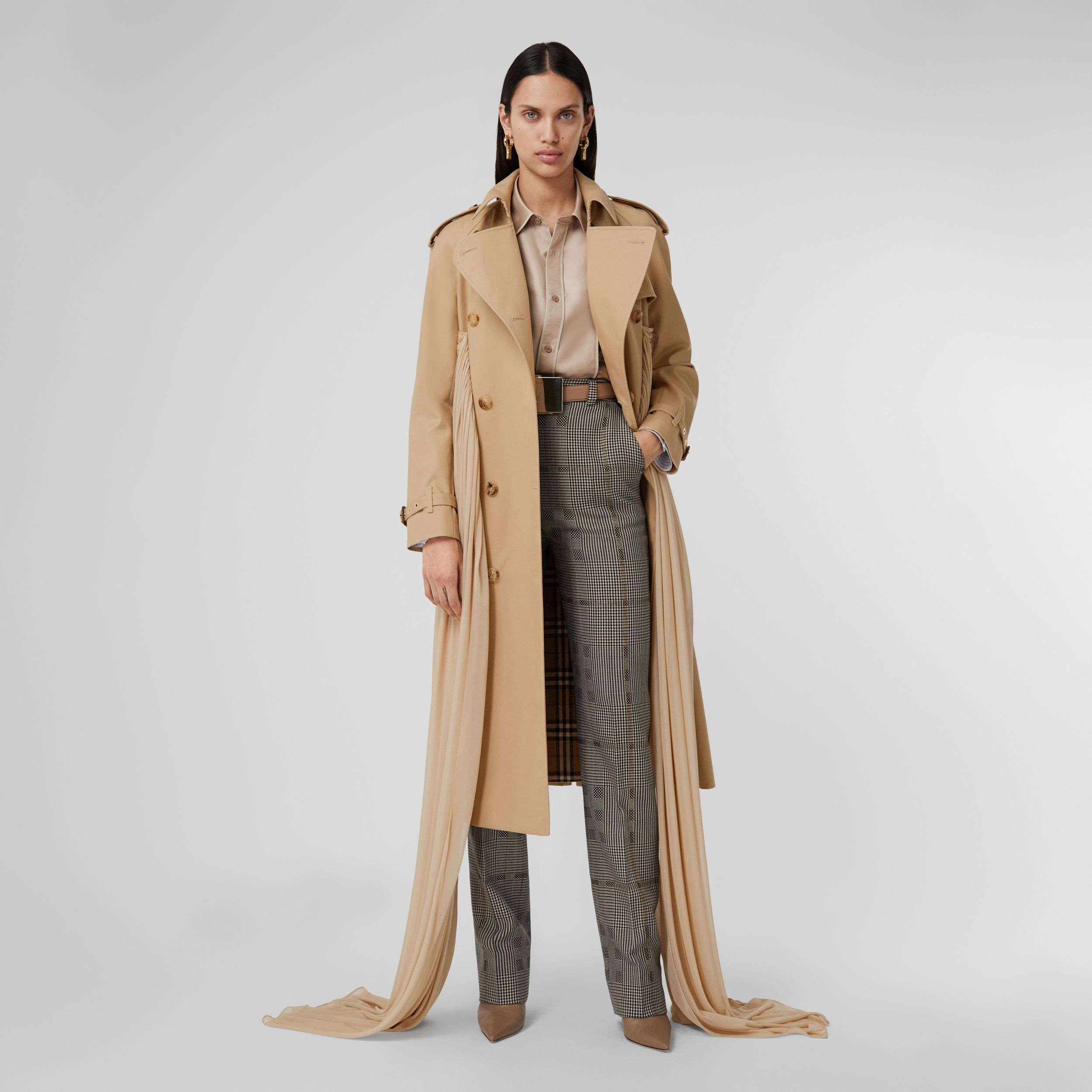 Jersey Sash Detail Cotton Gabardine Trench Coat in Soft Fawn - Women | Burberry United Kingdom - 1