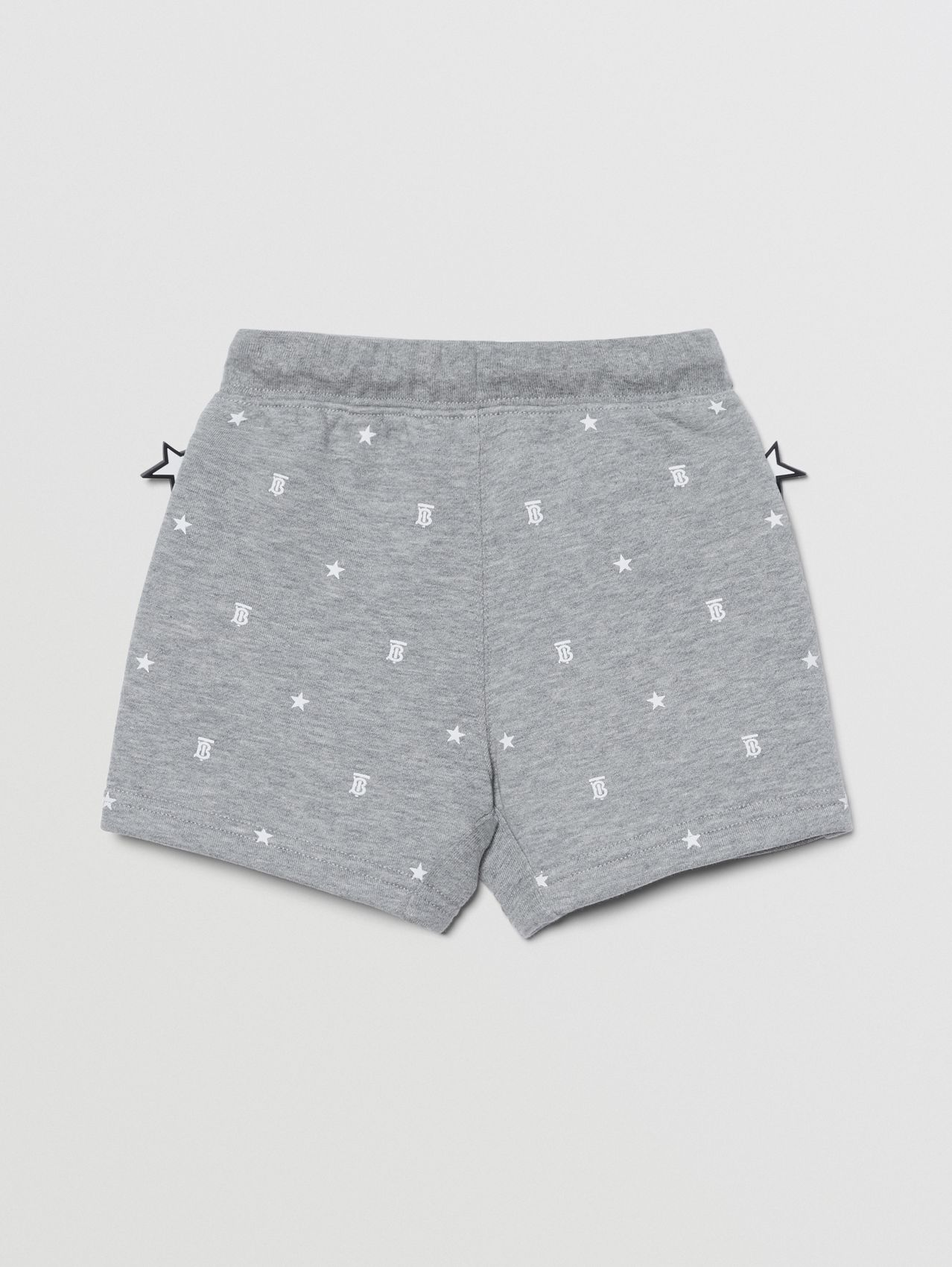 Star and Monogram Motif Cotton Shorts in Grey
