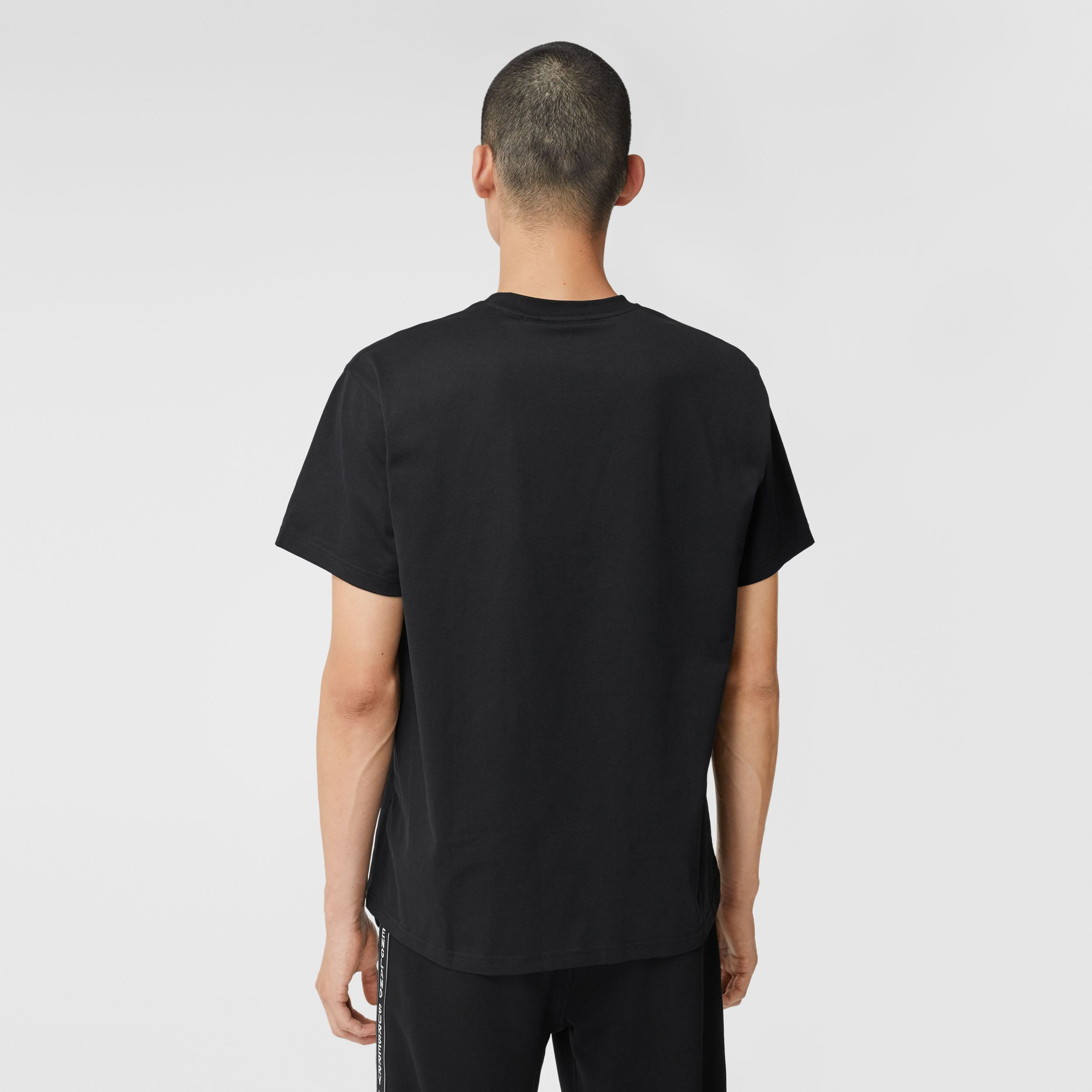 Swan and Logo Print Cotton Oversized T-shirt - Men | Burberry Australia - 3