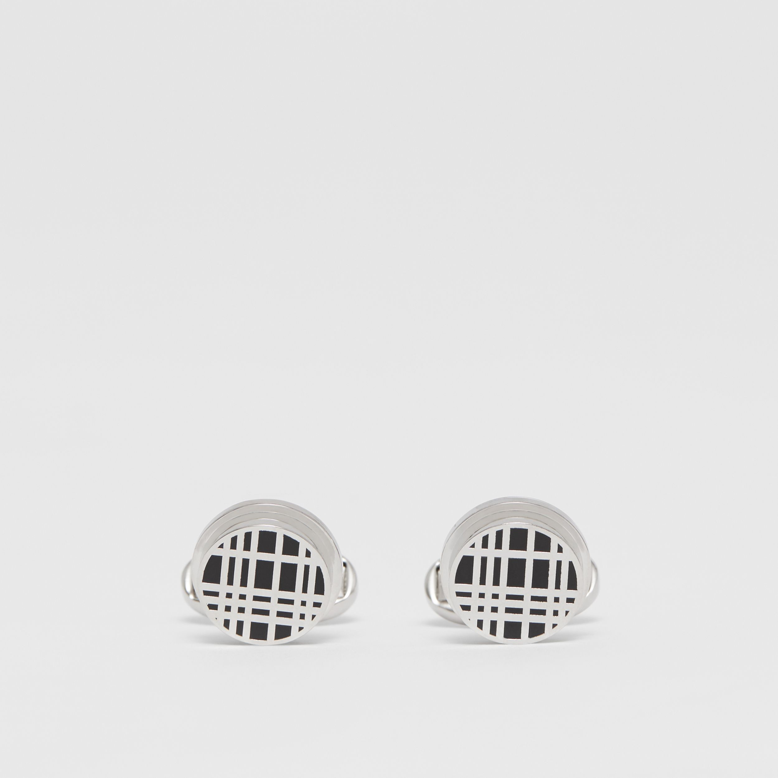 Check Detail Palladium-plated Cufflinks in Palladium/black - Men | Burberry - 1