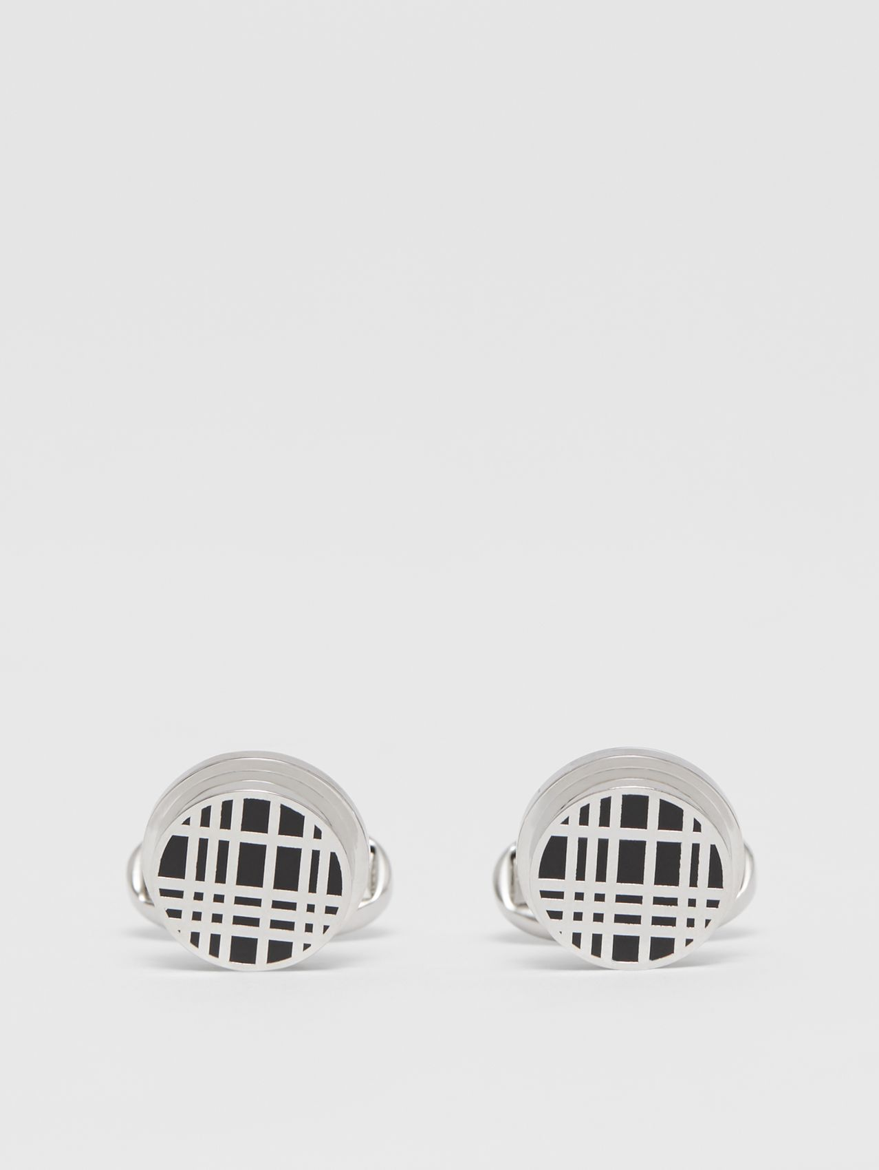Check Detail Palladium-plated Cufflinks in Palladium/black
