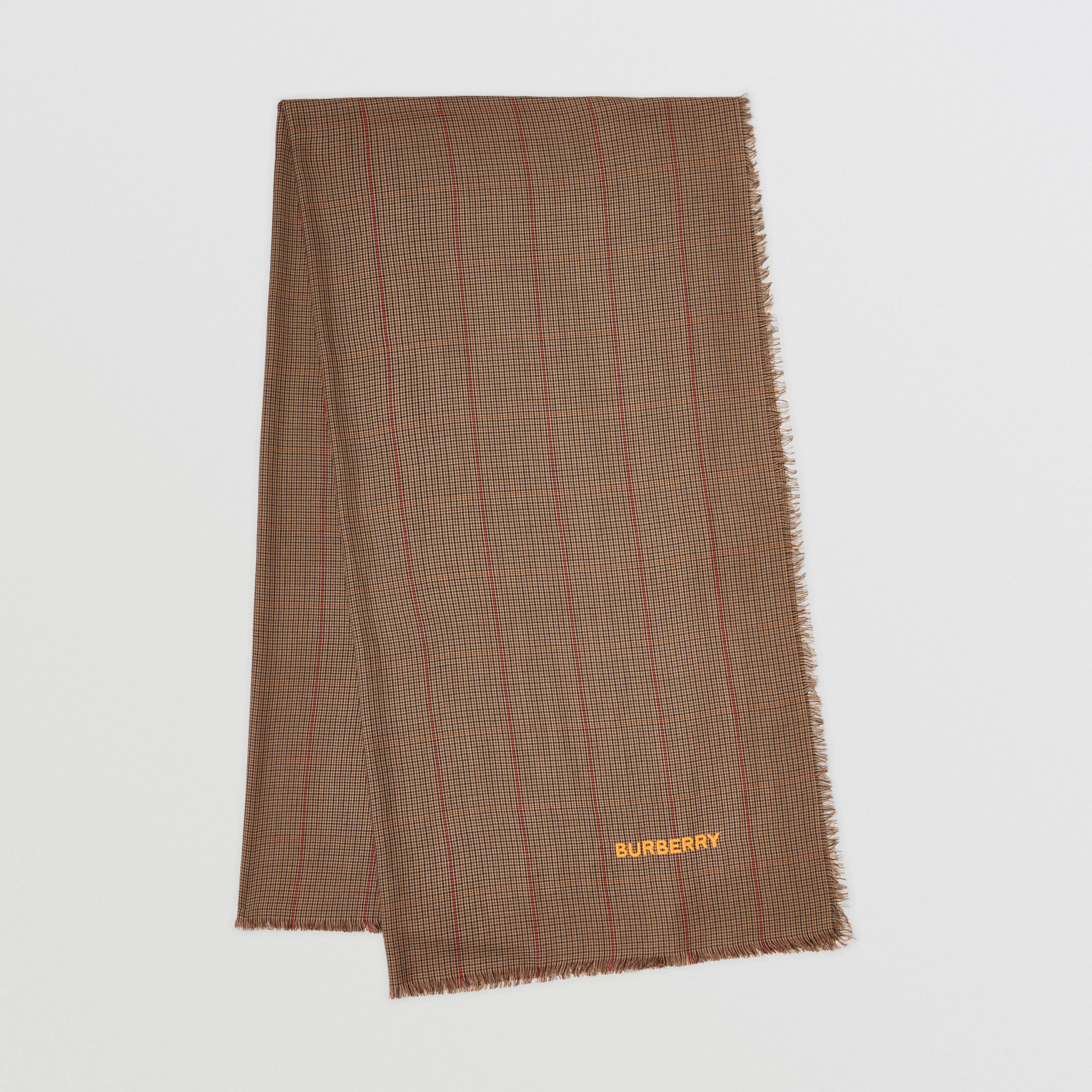 Horseferry Print Houndstooth Cashmere Scarf in Dark Mocha | Burberry - 1