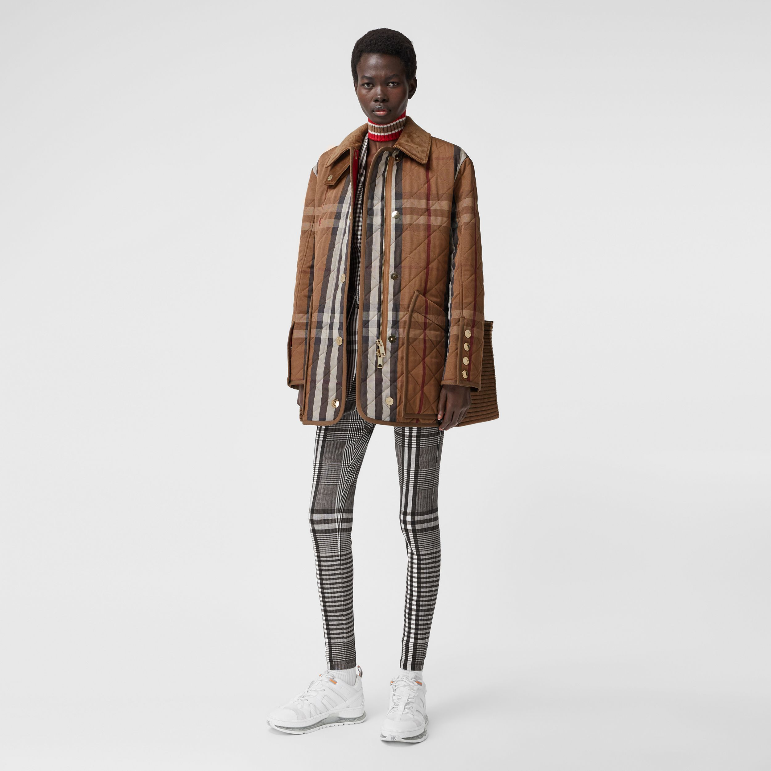 Rib Knit Panel Check Technical Cotton Barn Jacket in Birch Brown - Women | Burberry - 1