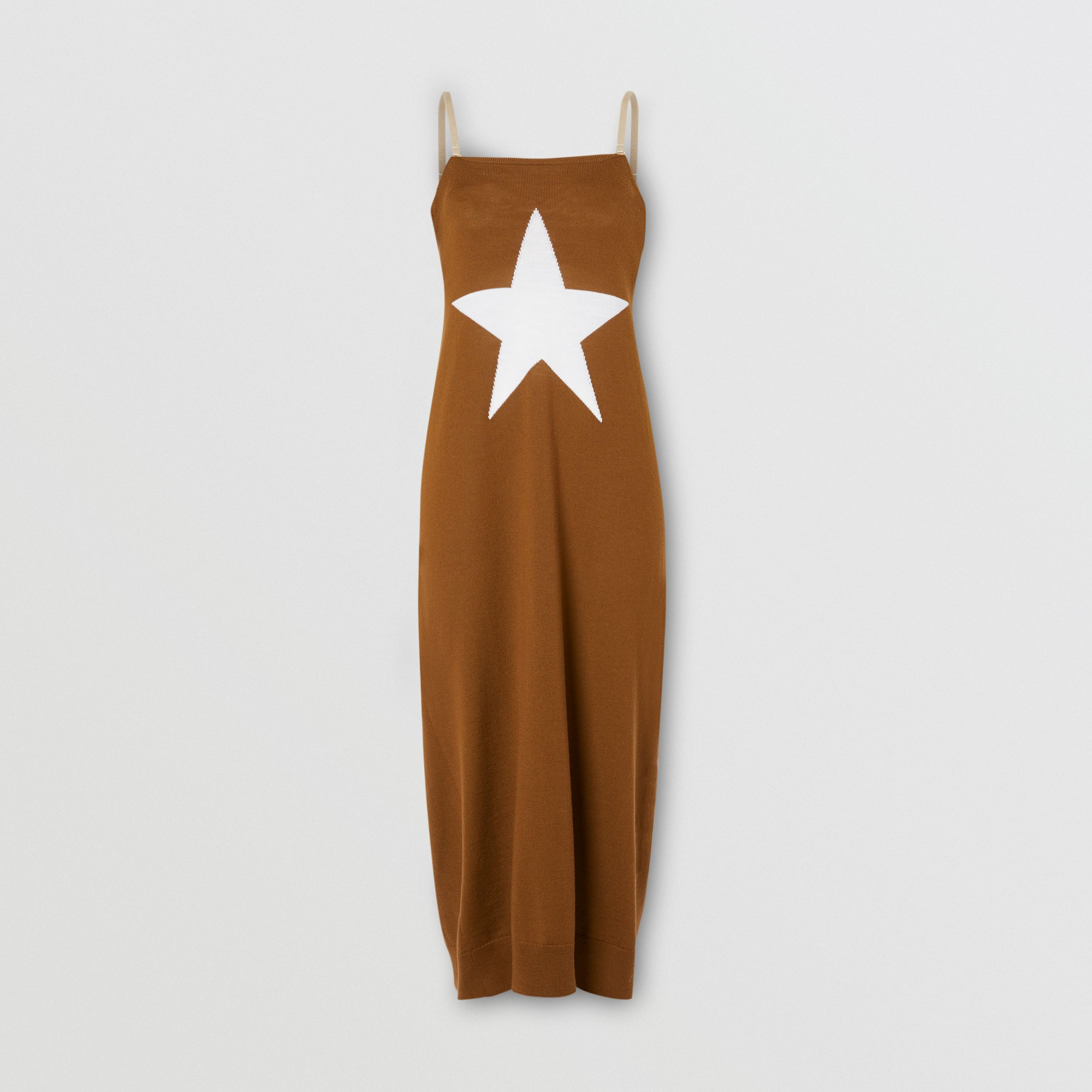 Star Motif Wool Reconstructed Sweater Dress in Mahogany - Women | Burberry - 4