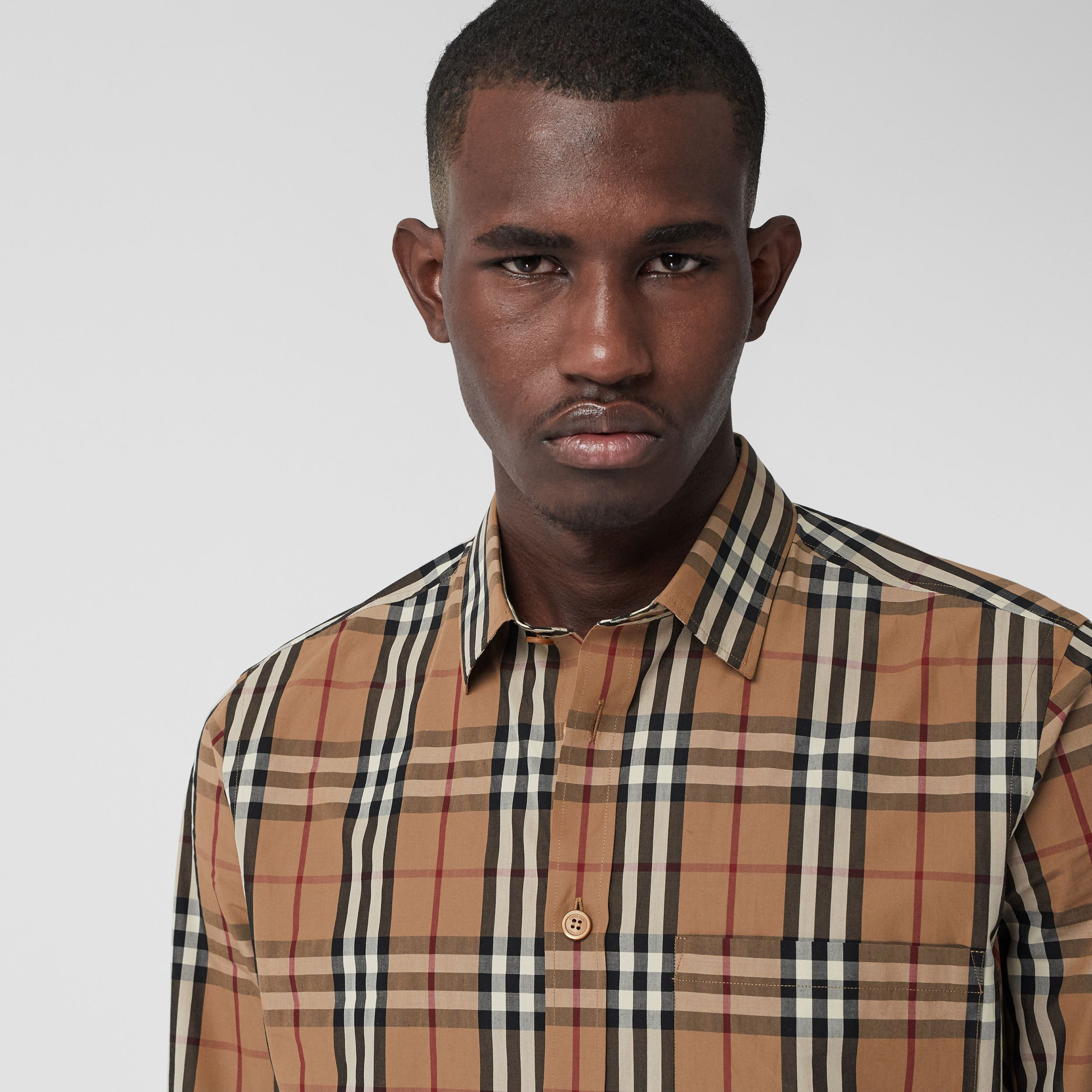 Vintage Check Cotton Poplin Shirt in Birch Brown - Men | Burberry - 2