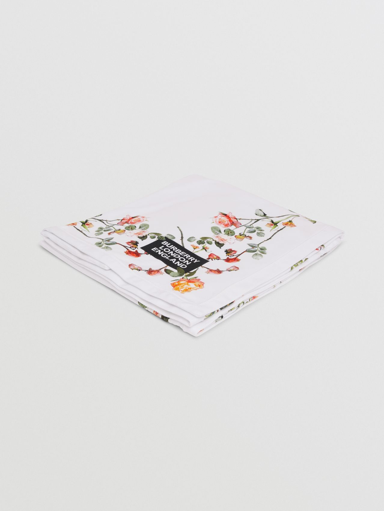 Montage Print Cotton Baby Blanket in White