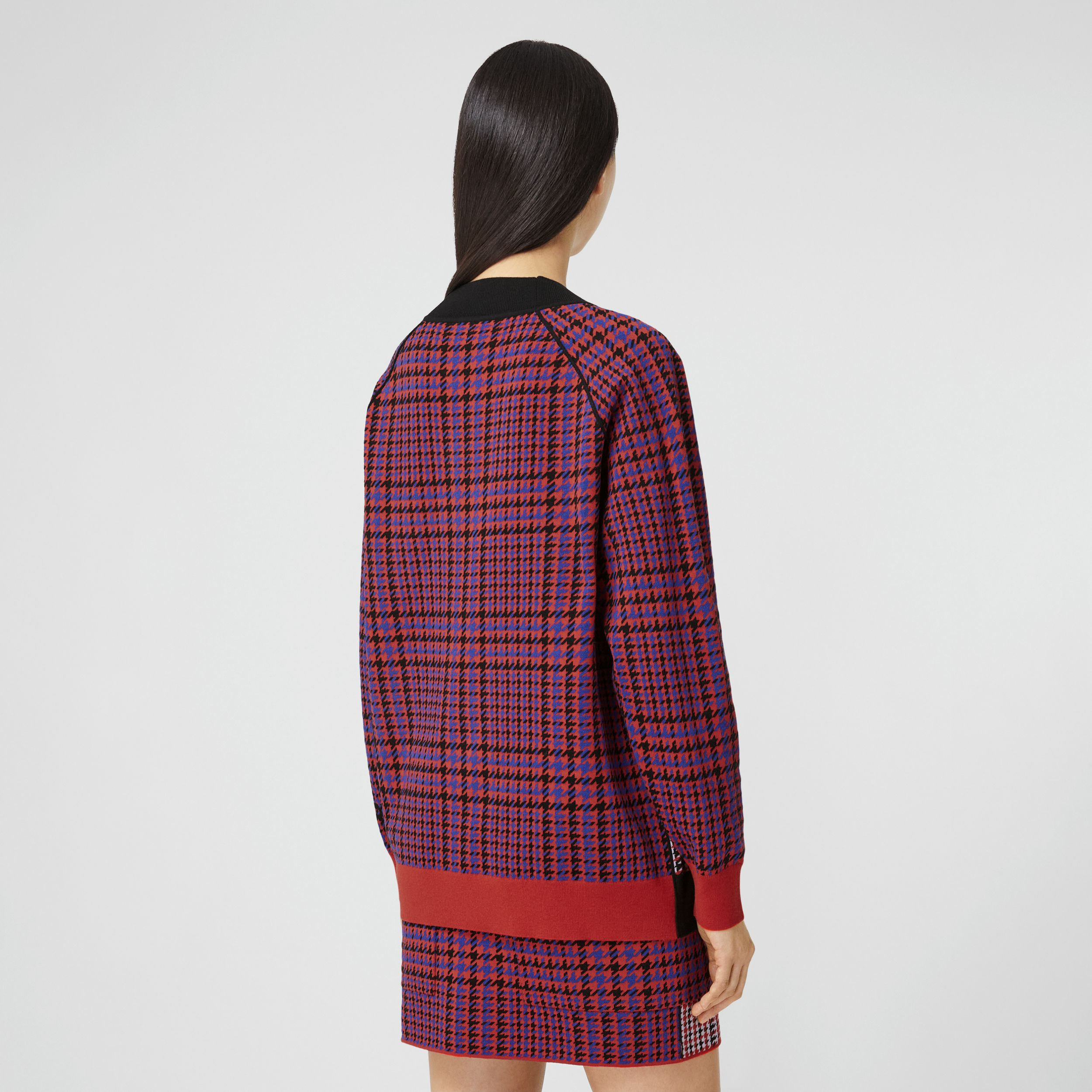 Houndstooth Check Technical Merino Wool Sweater in Bright Red - Women | Burberry Hong Kong S.A.R. - 3