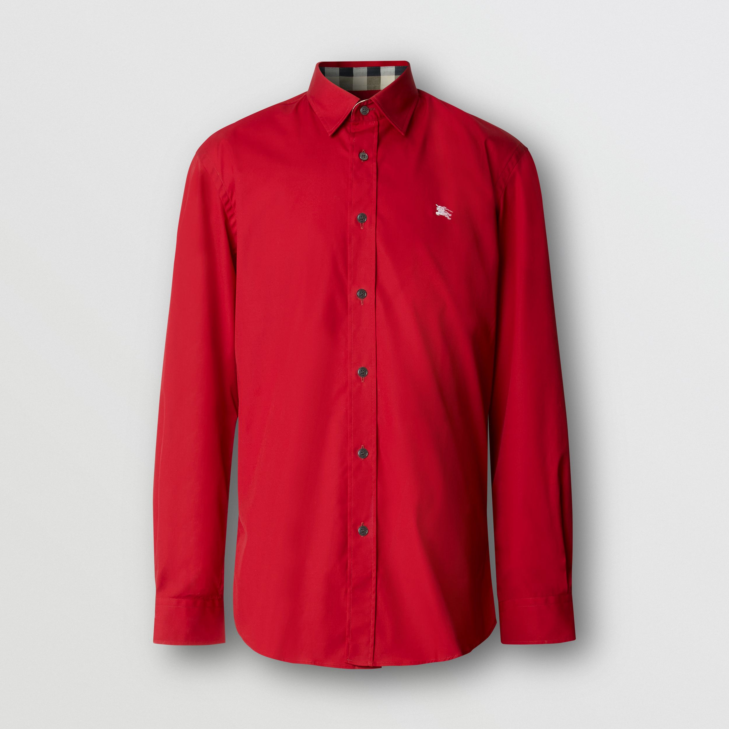 Embroidered EKD Stretch Cotton Poplin Shirt in Parade Red - Men | Burberry - 1
