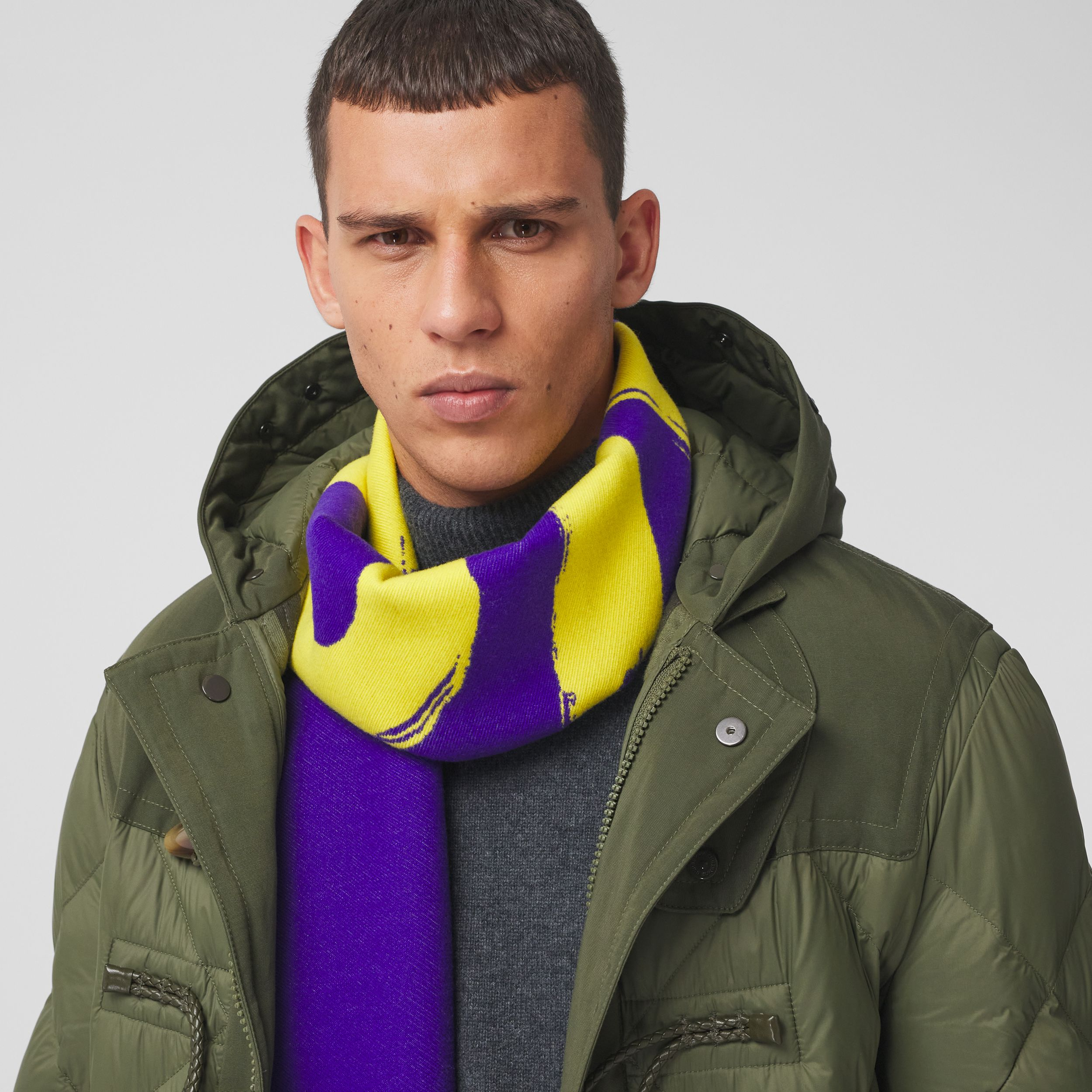 Love and Logo Wool Silk Jacquard Scarf in Yellow | Burberry - 4