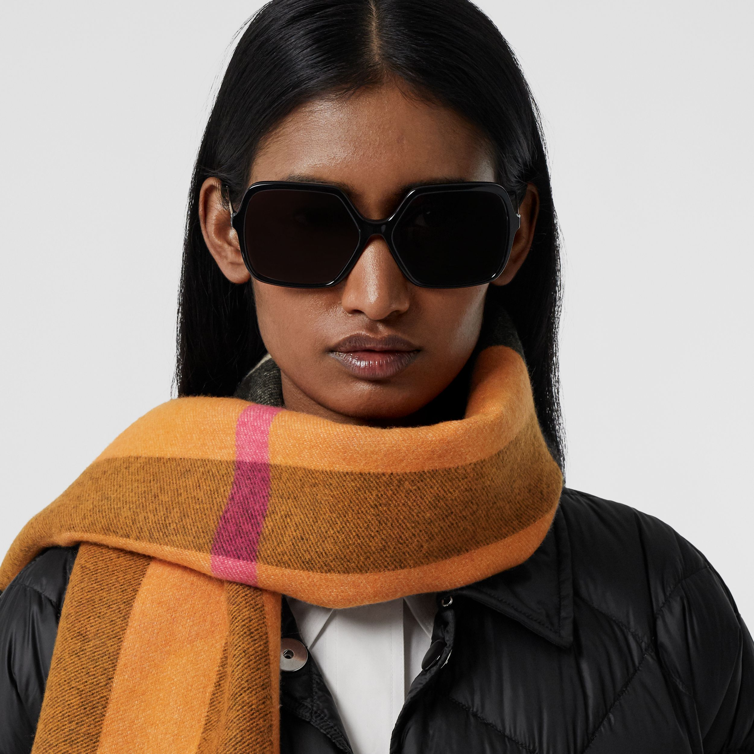 Reversible Check and Logo Cashmere Scarf in Orange | Burberry - 3