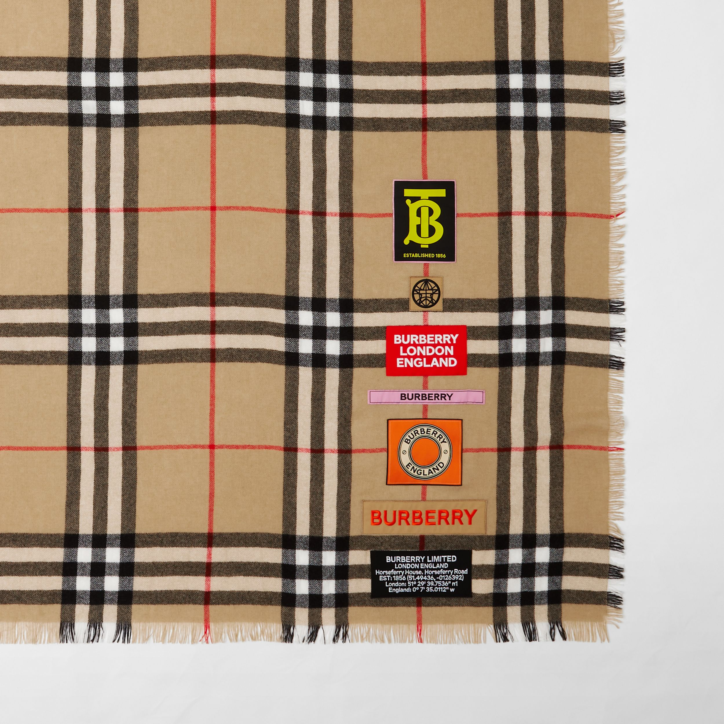 Logo Graphic Check Cashmere Large Square Scarf in Archive Beige | Burberry - 2
