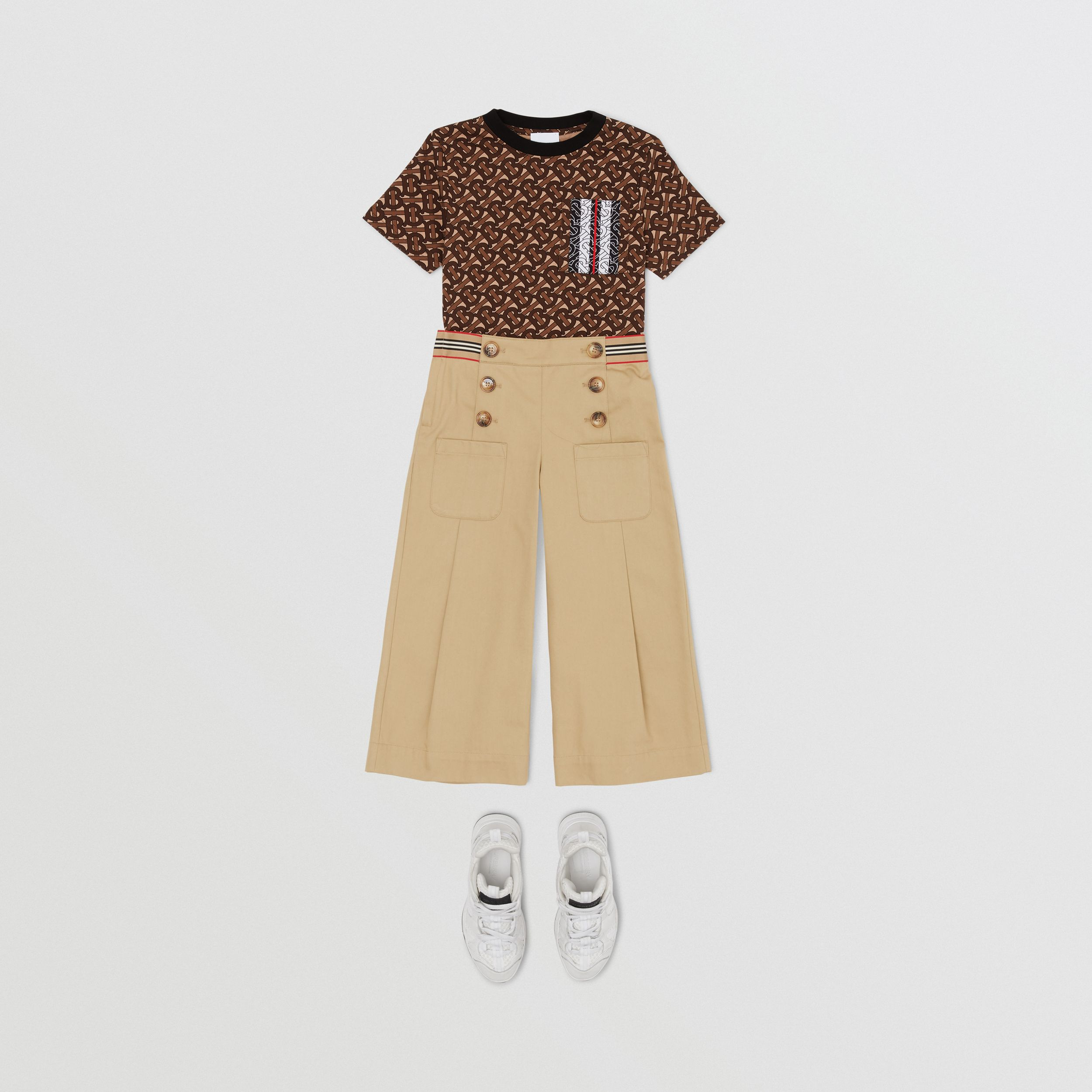 Monogram Stripe Print Cotton T-shirt in Bridle Brown | Burberry - 3
