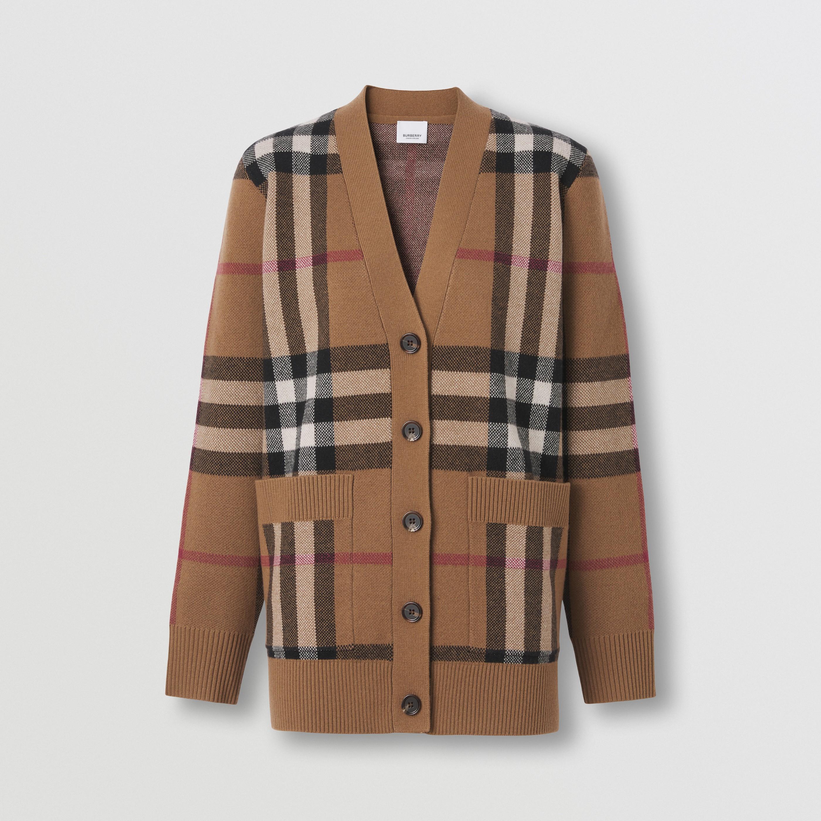 Cardigan in lana e cashmere con motivo tartan in jacquard (Marrone Betulla) - Donna   Burberry - 4