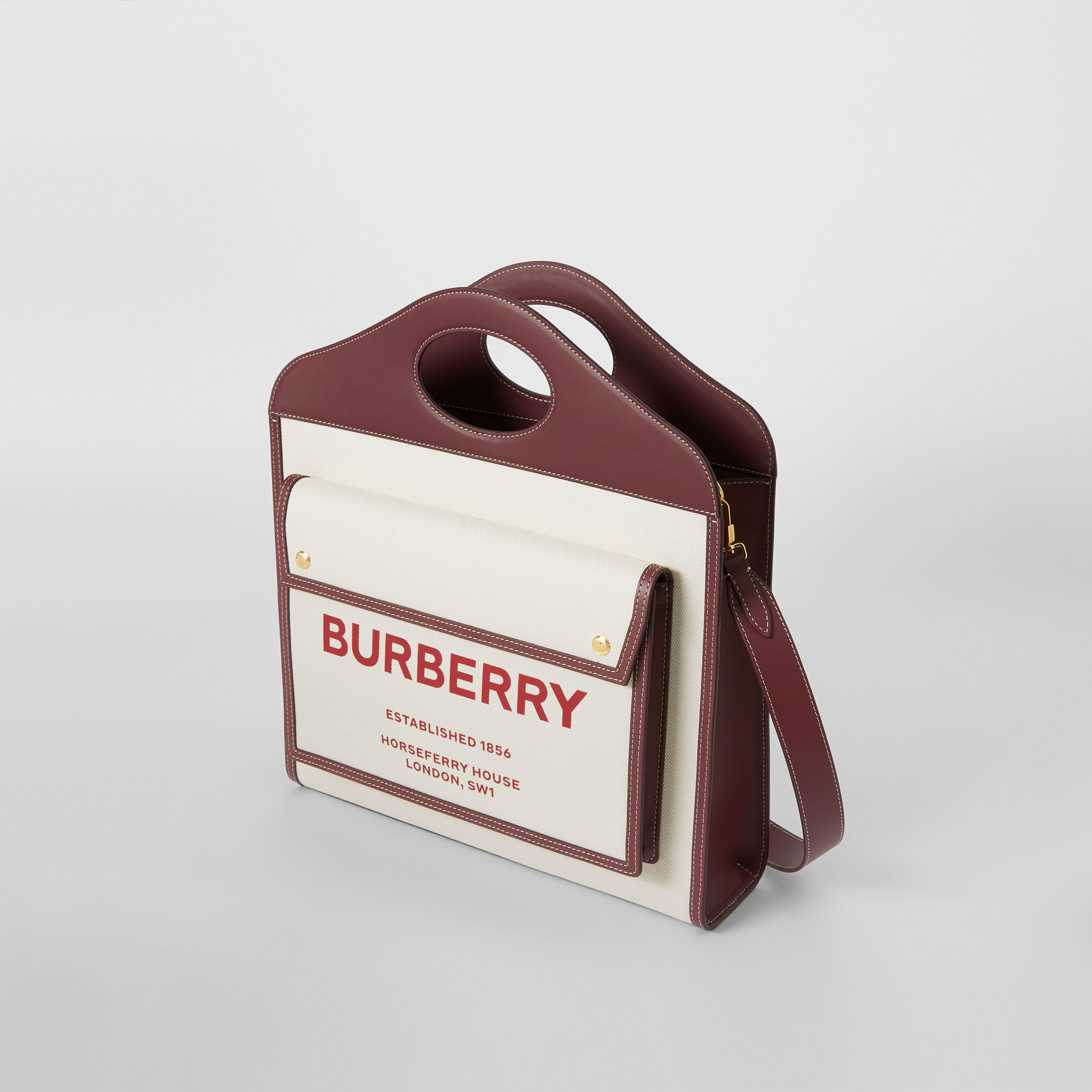 Medium Two-tone Canvas and Leather Pocket Bag in Natural/garnet - Women | Burberry - 4