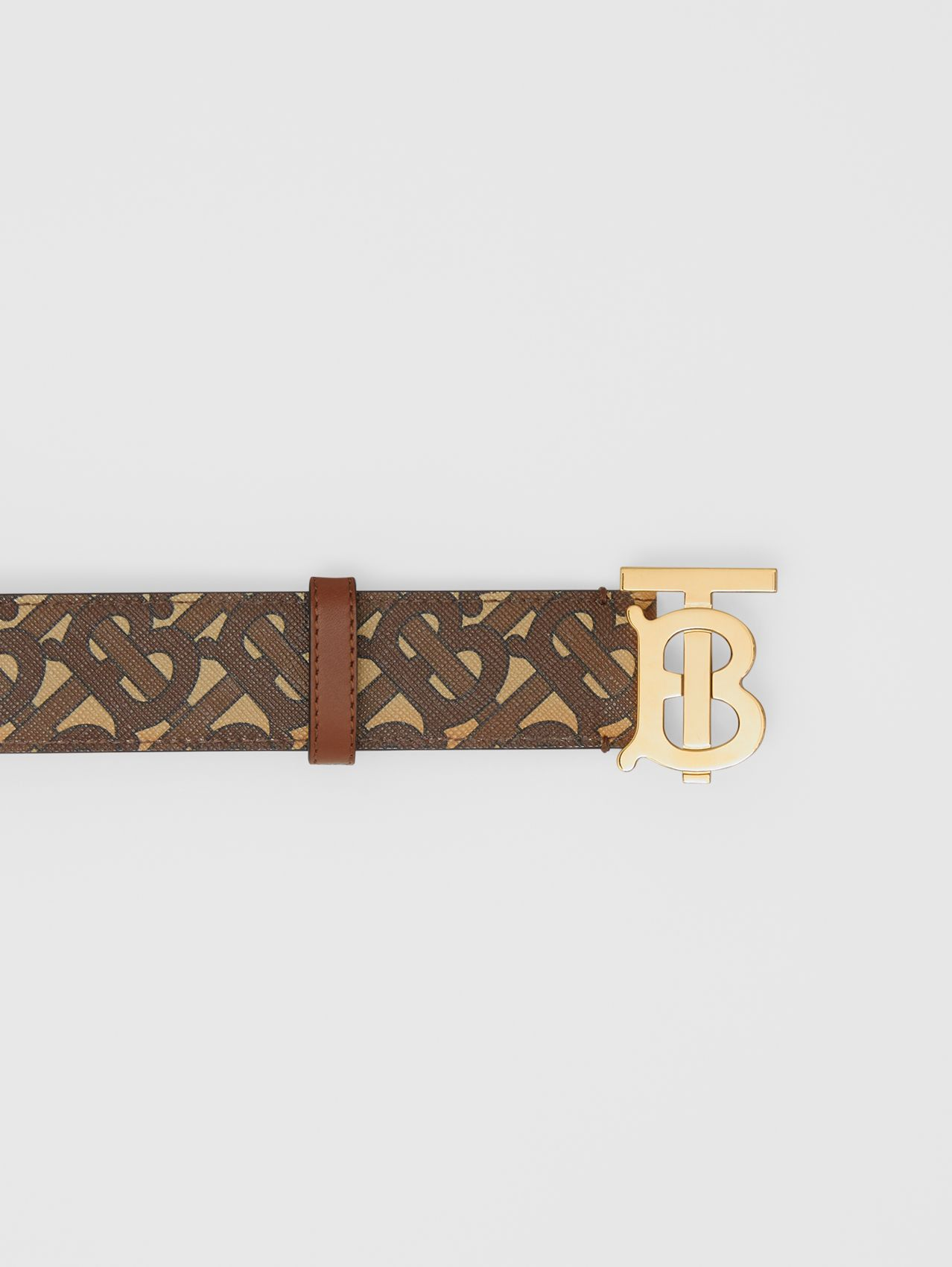 Monogram Stripe E-canvas and Leather Belt in Bridle Brown