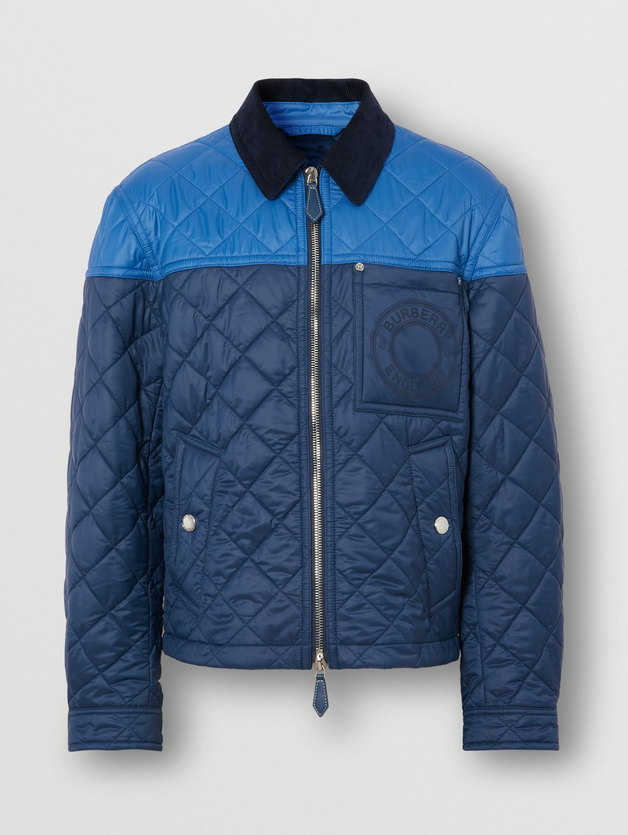 Colour Block Recycled Nylon Harrington Jacket in Ink Blue