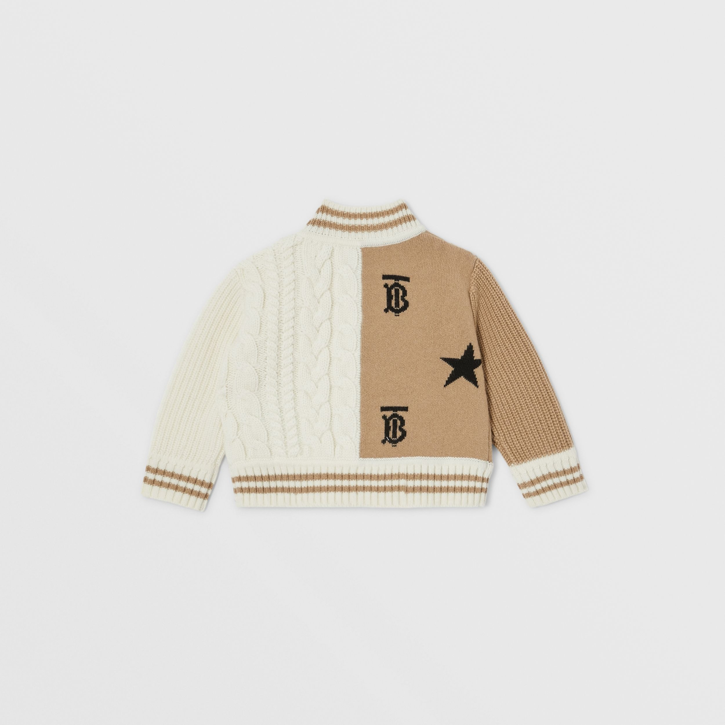 Star and Monogram Motif Wool Cashmere Blend Jacket in Archive Beige - Children | Burberry - 4