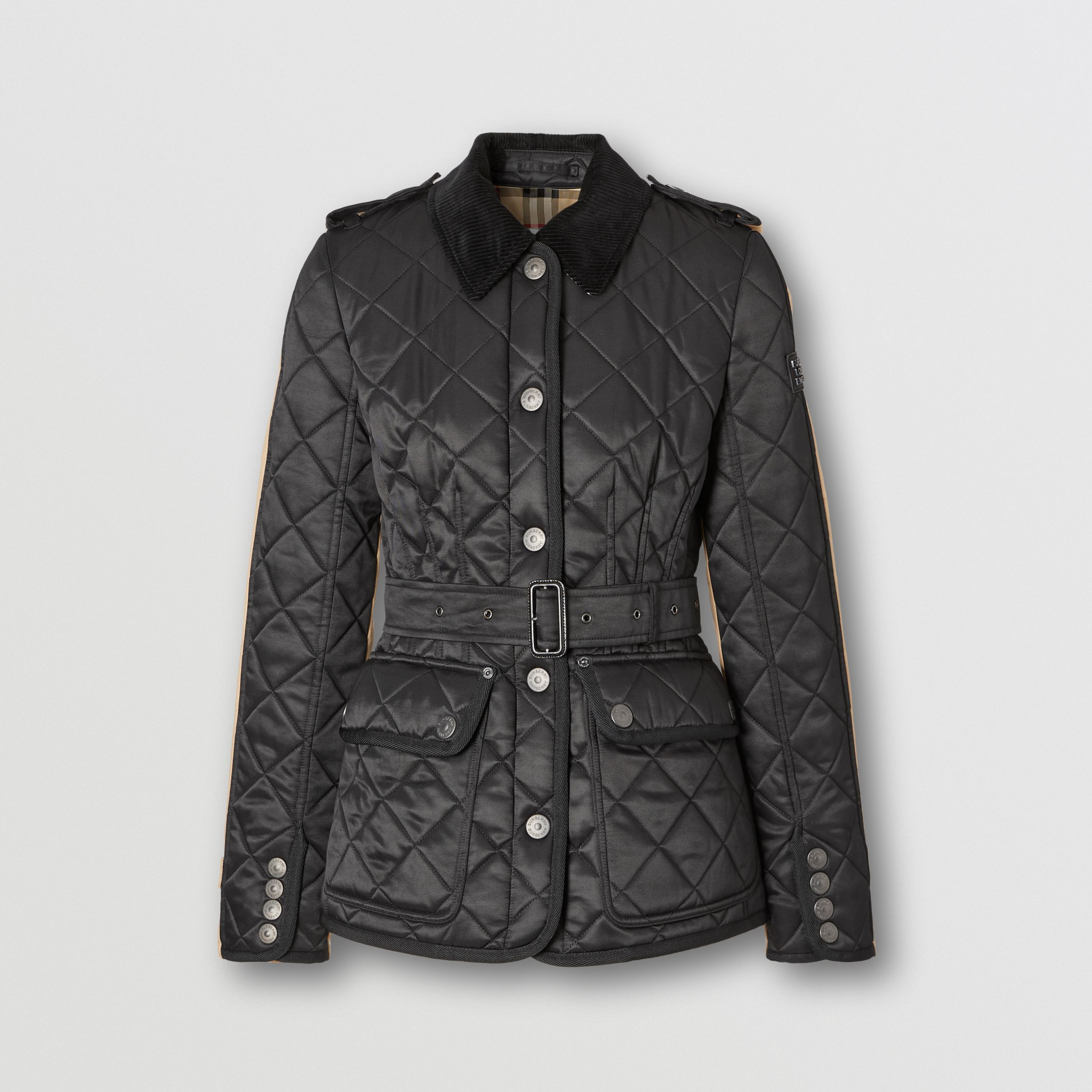 Cotton Gabardine Panel Diamond Quilted Jacket in Black | Burberry - 4