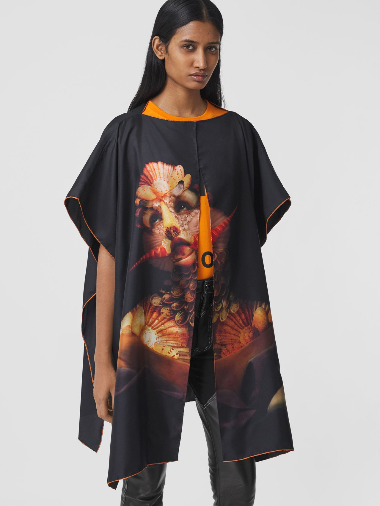 Sea Maiden Print Silk Twill Cape in Black