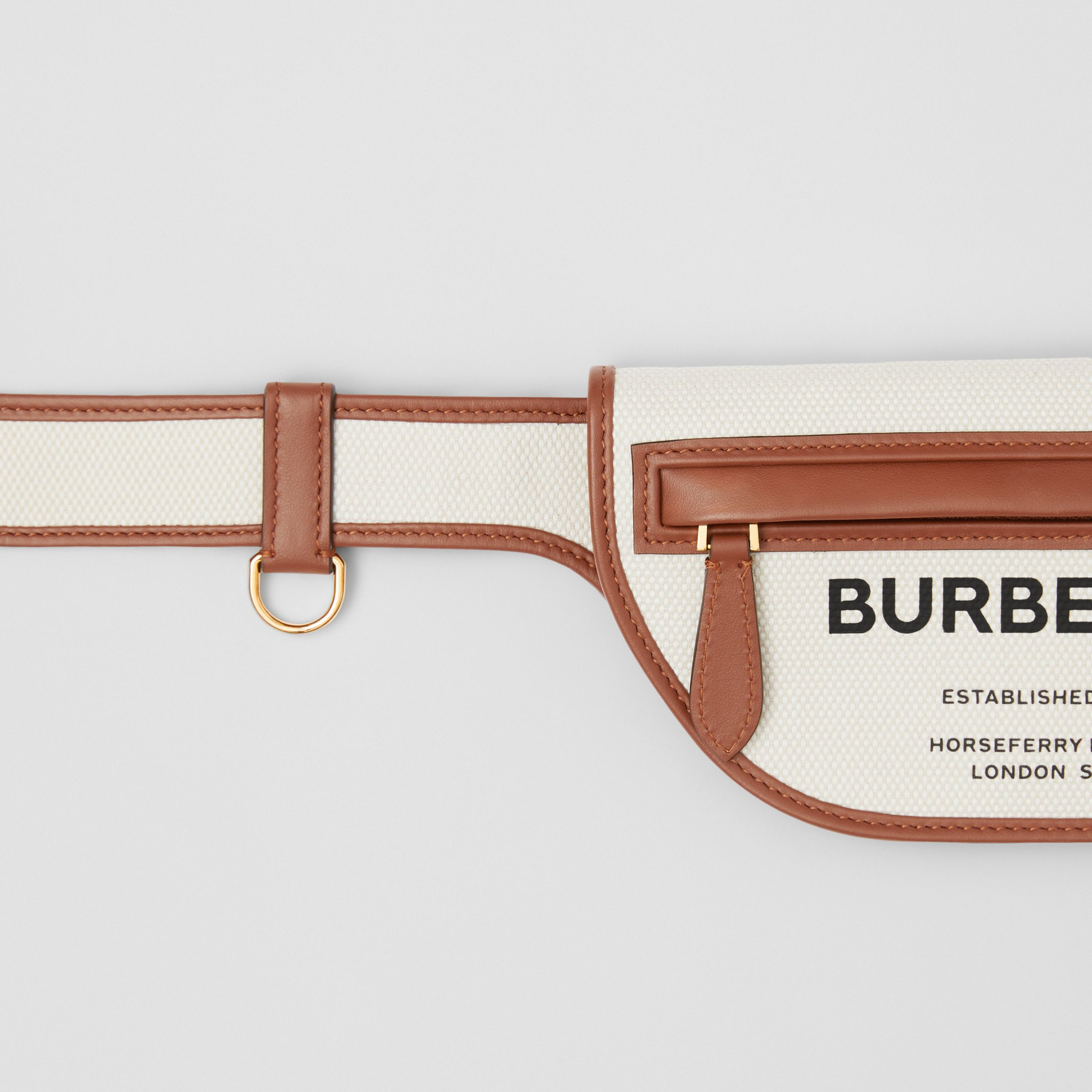 Horseferry Print Canvas and Leather Olympia Belt Bag in Natural/tan - Women | Burberry United Kingdom - 2