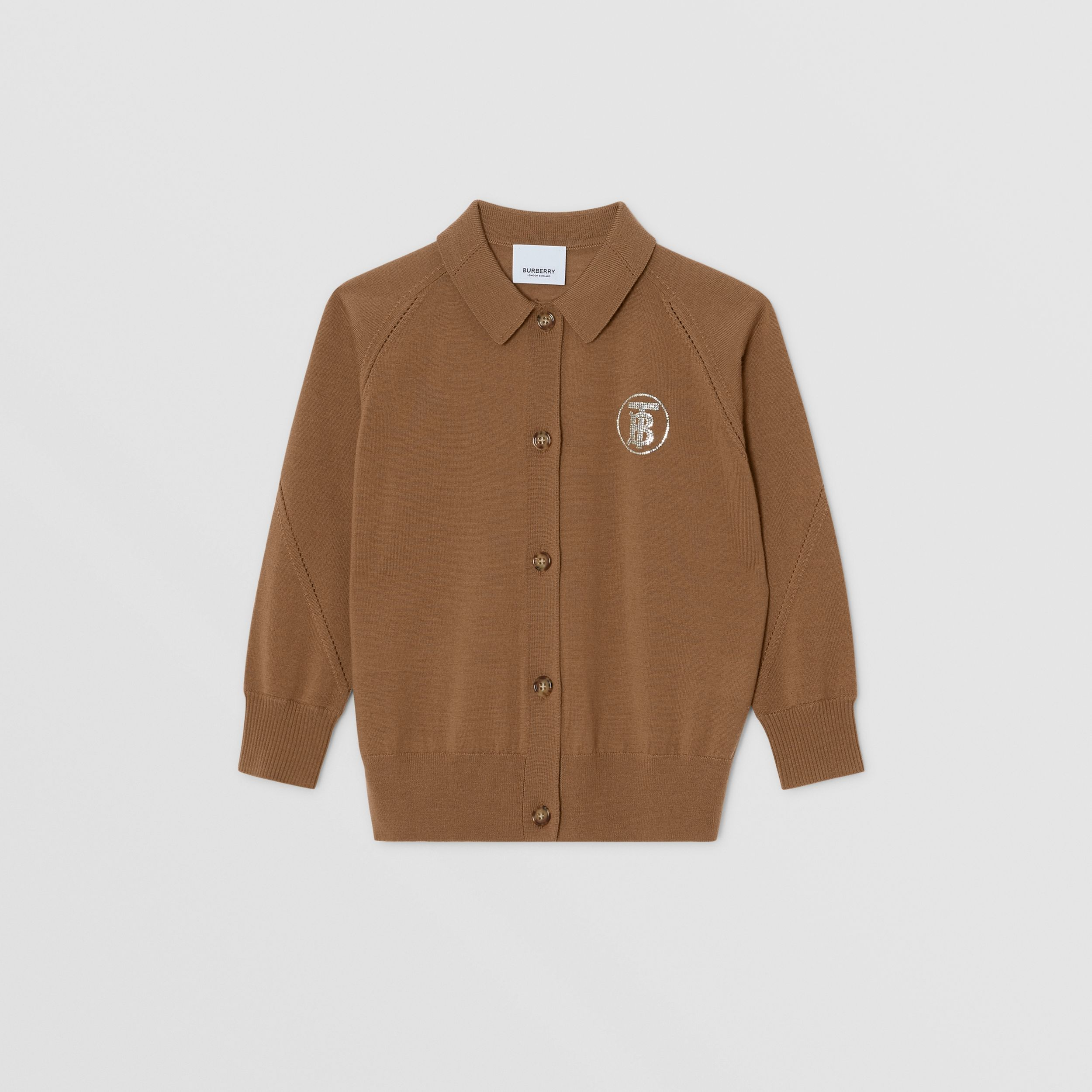 Crystal Monogram Motif Merino Wool Cardigan in Oak Brown | Burberry - 1