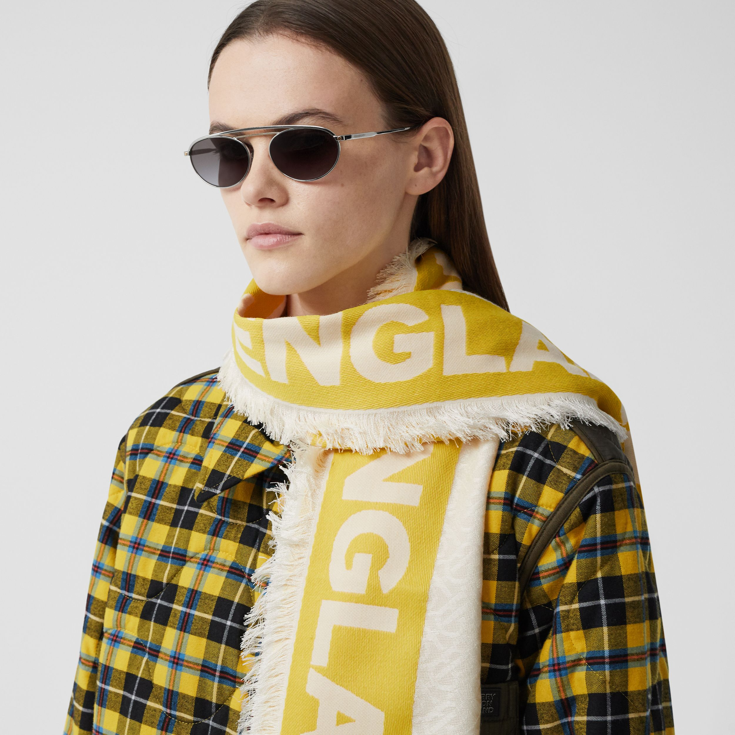 Monogram Fil Coupé Silk Blend Large Square Scarf in Yellow | Burberry - 3