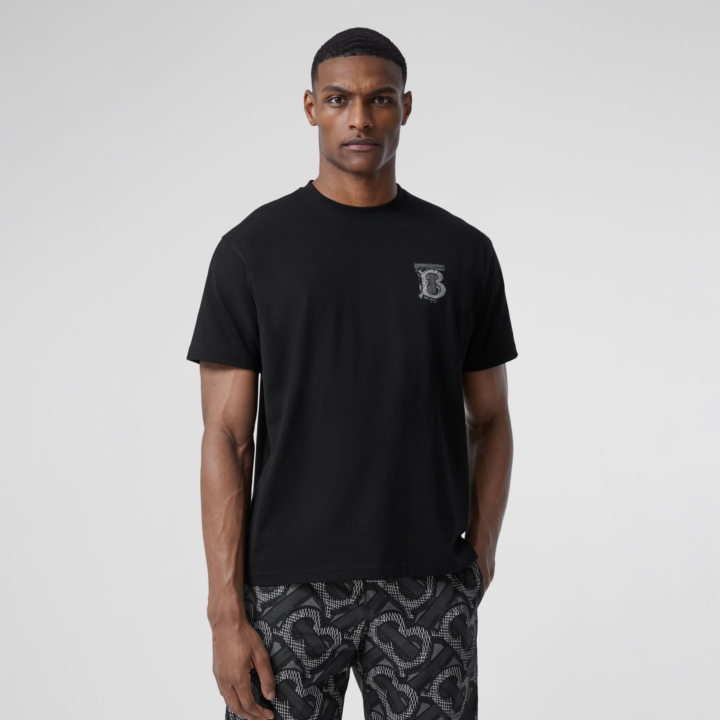 Monogram Motif Cotton T-shirt – Unisex in Black | Burberry - 3