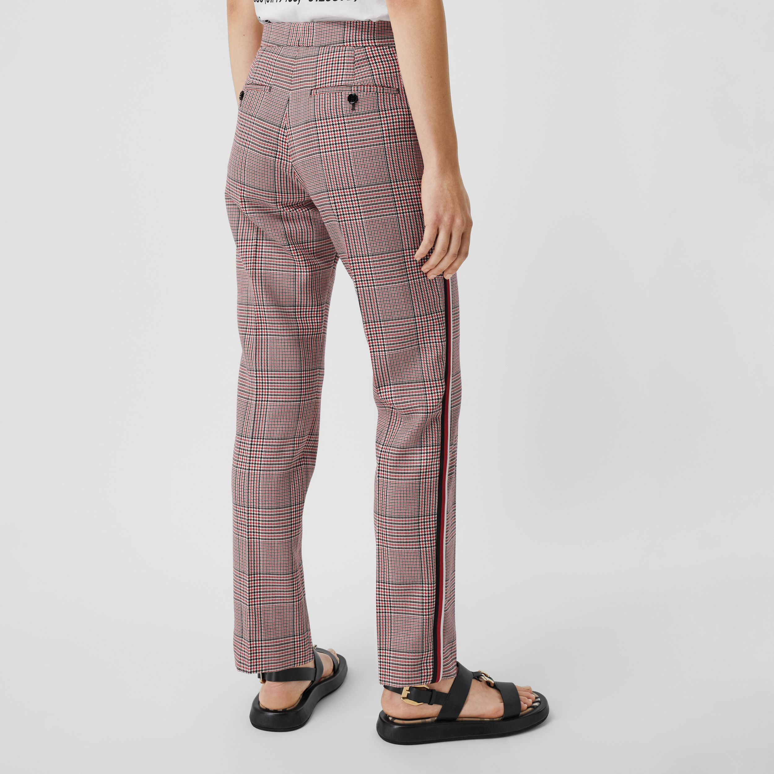 Side Stripe Houndstooth Check Wool Tailored Trousers in Bright Red - Women | Burberry - 3