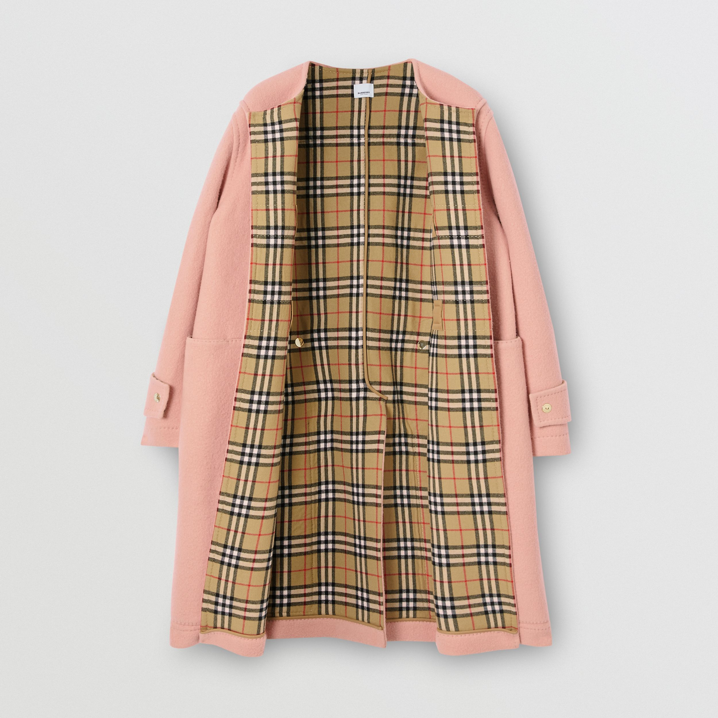 Vintage Check-lined Felted Wool Duffle Coat in Dusty Pink - Men | Burberry - 4