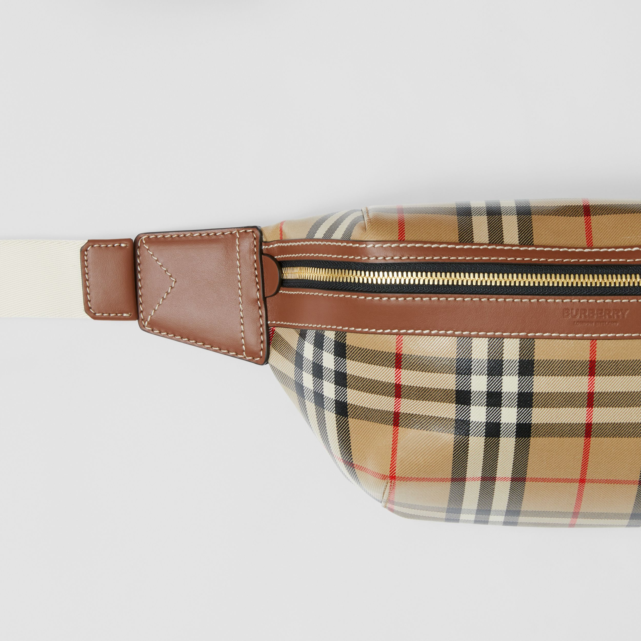 Vintage Check Coated Canvas Sonny Bum Bag in Archive Beige - Men | Burberry - 2